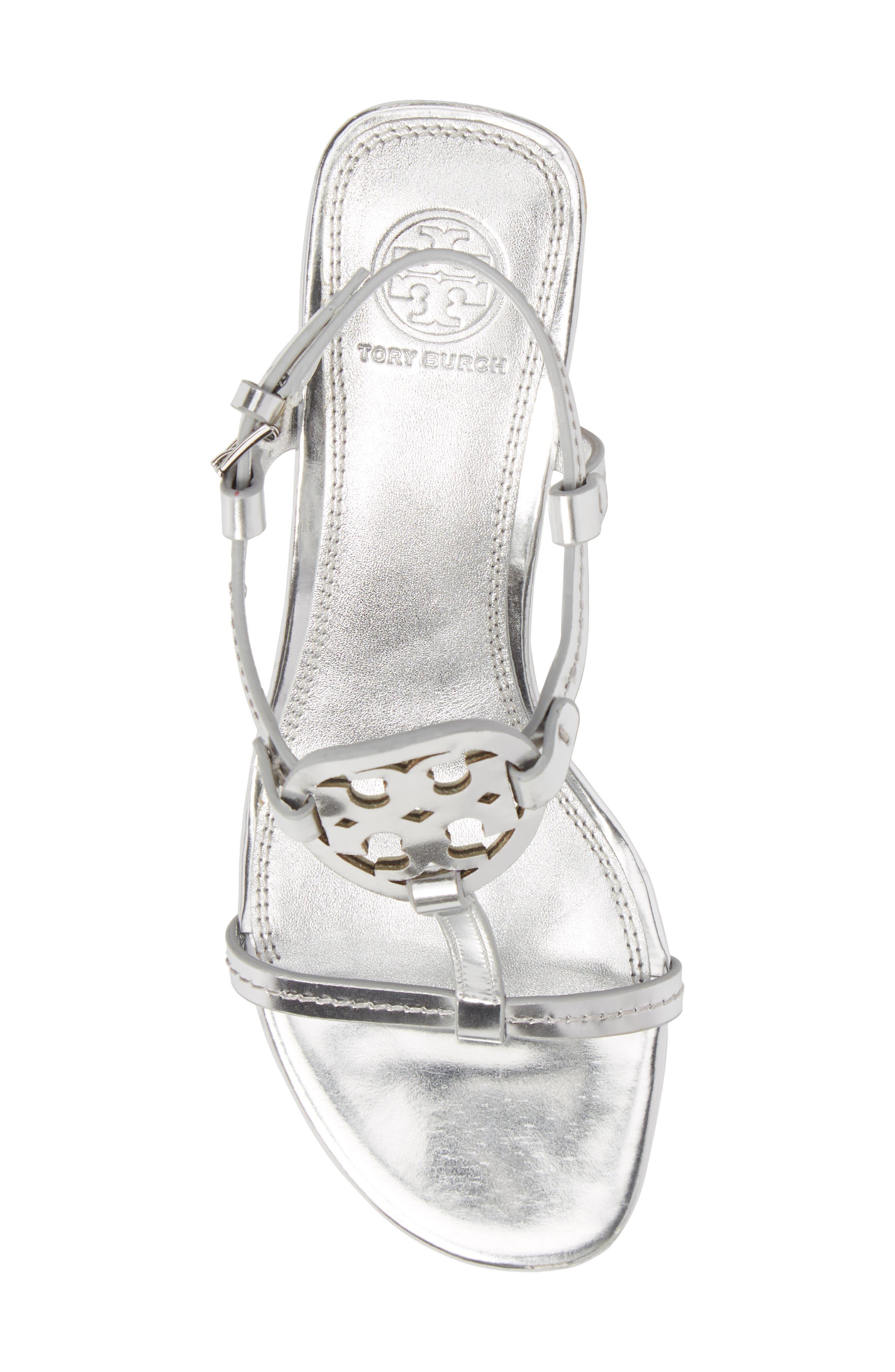 Miller Logo T-Strap Sandal,                             Alternate thumbnail 5, color,                             Silver