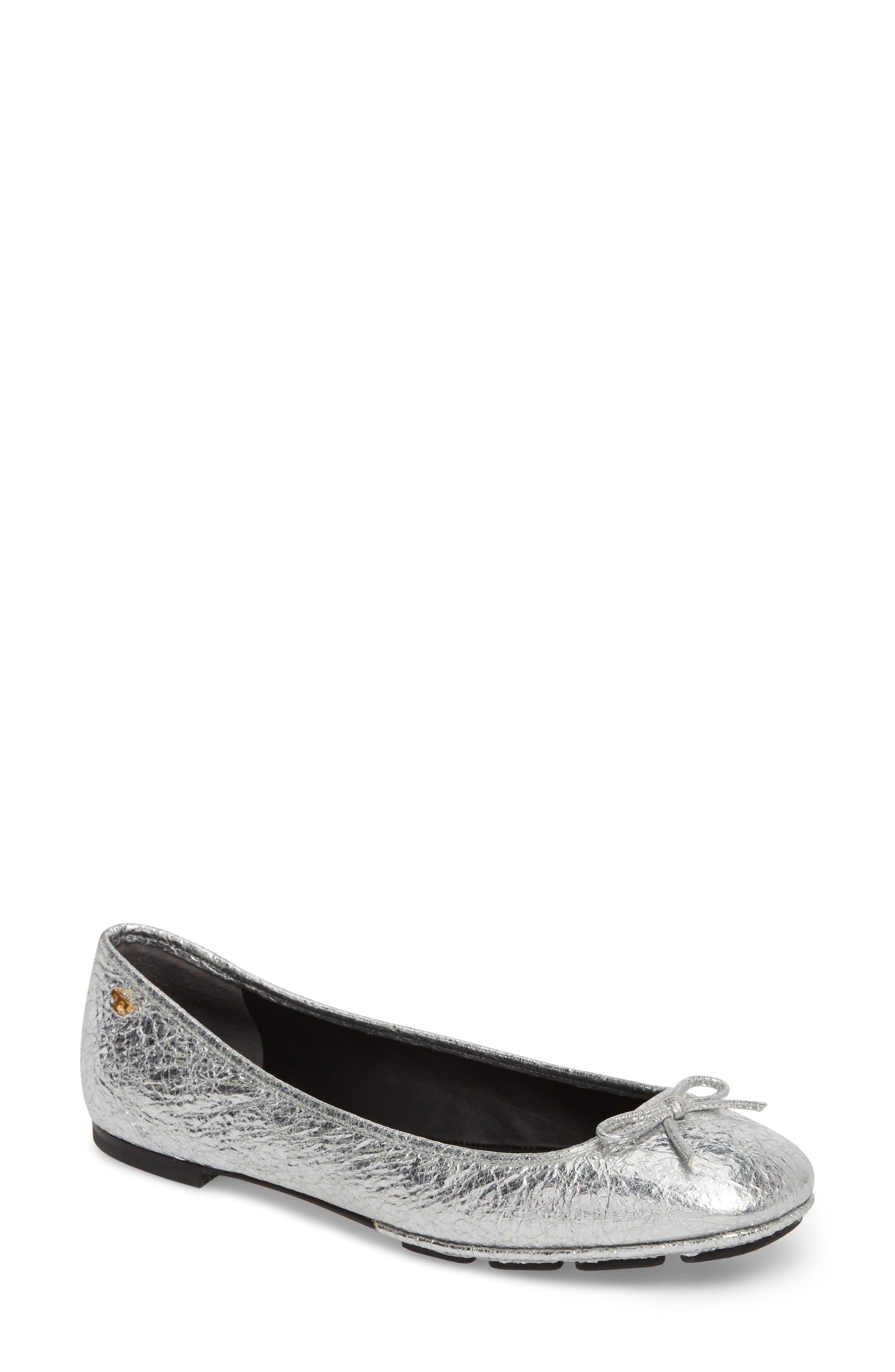 c432ddbda5 Tory Burch Laila 2 Metallic Leather Driver Ballet Flats In Silver/ Perfect  Black