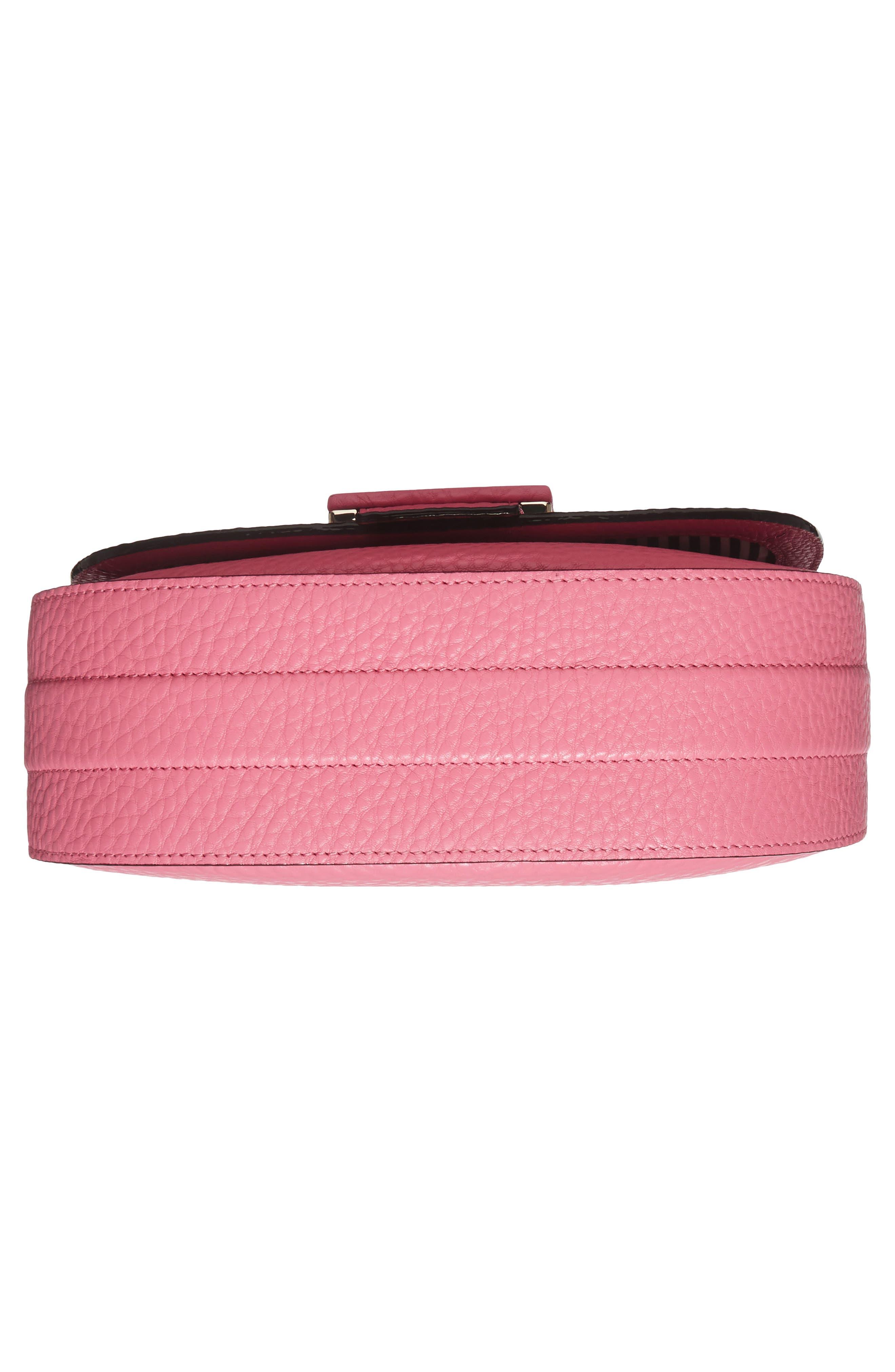 carlyle street - kallie leather saddle bag,                             Alternate thumbnail 6, color,                             Pink Sunset
