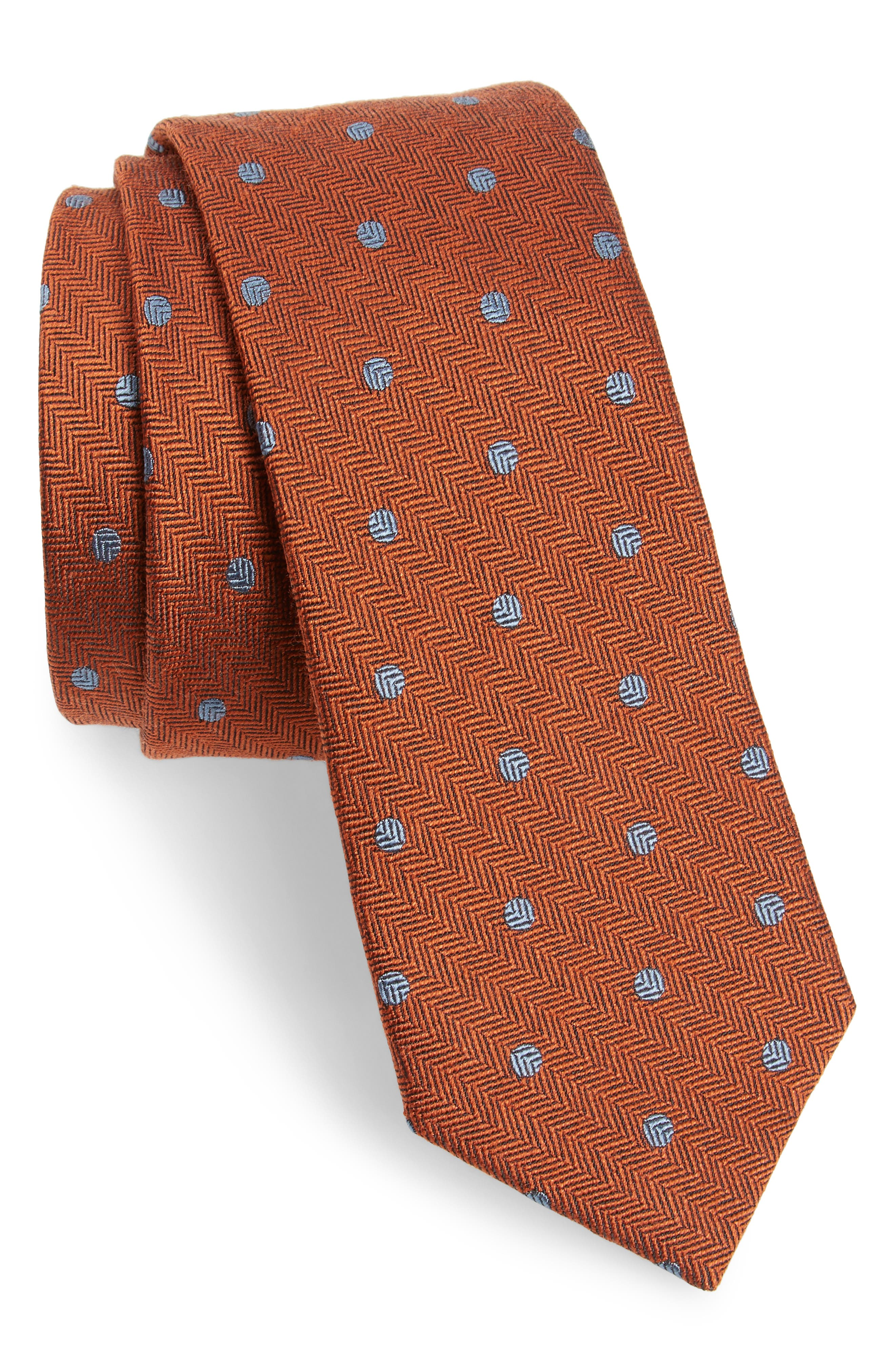 Dotted Hitch Silk & Wool Skinny Tie,                         Main,                         color, Orange