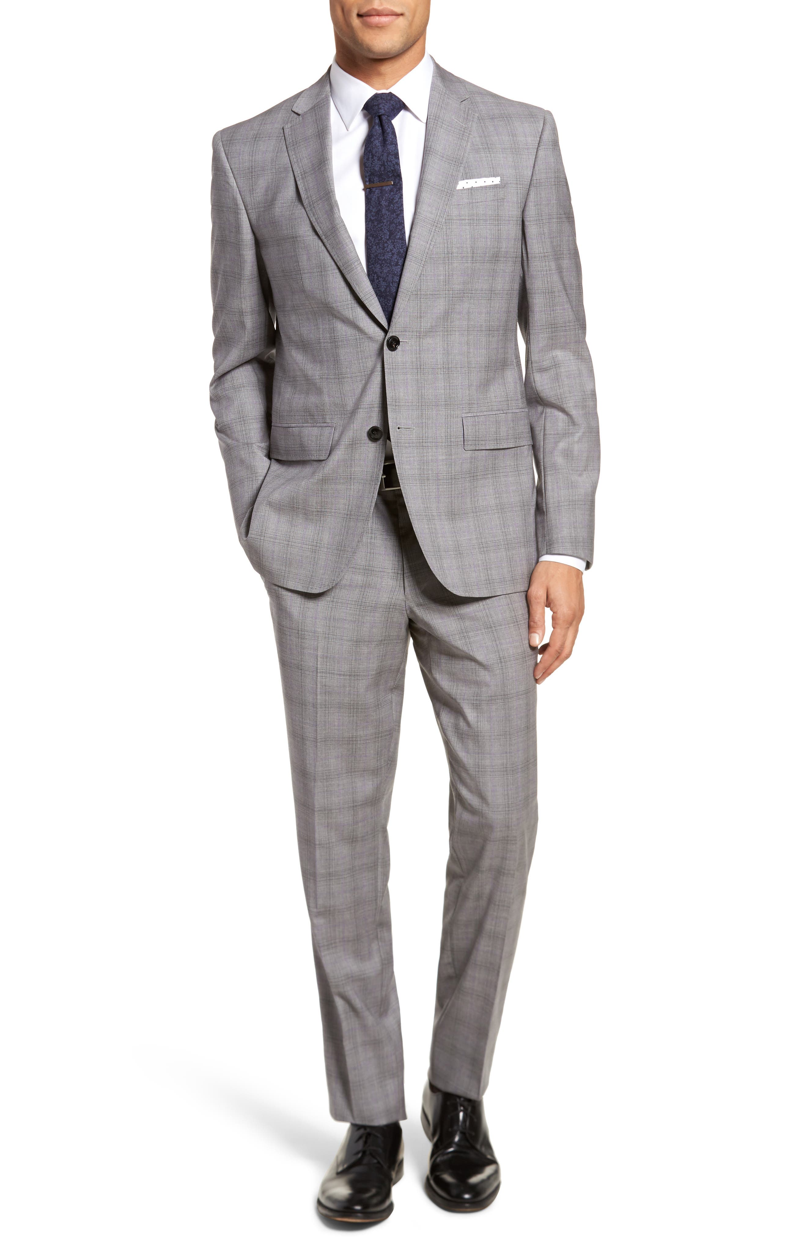 Jay Trim Fit Plaid Wool Suit,                             Main thumbnail 1, color,                             Light Grey