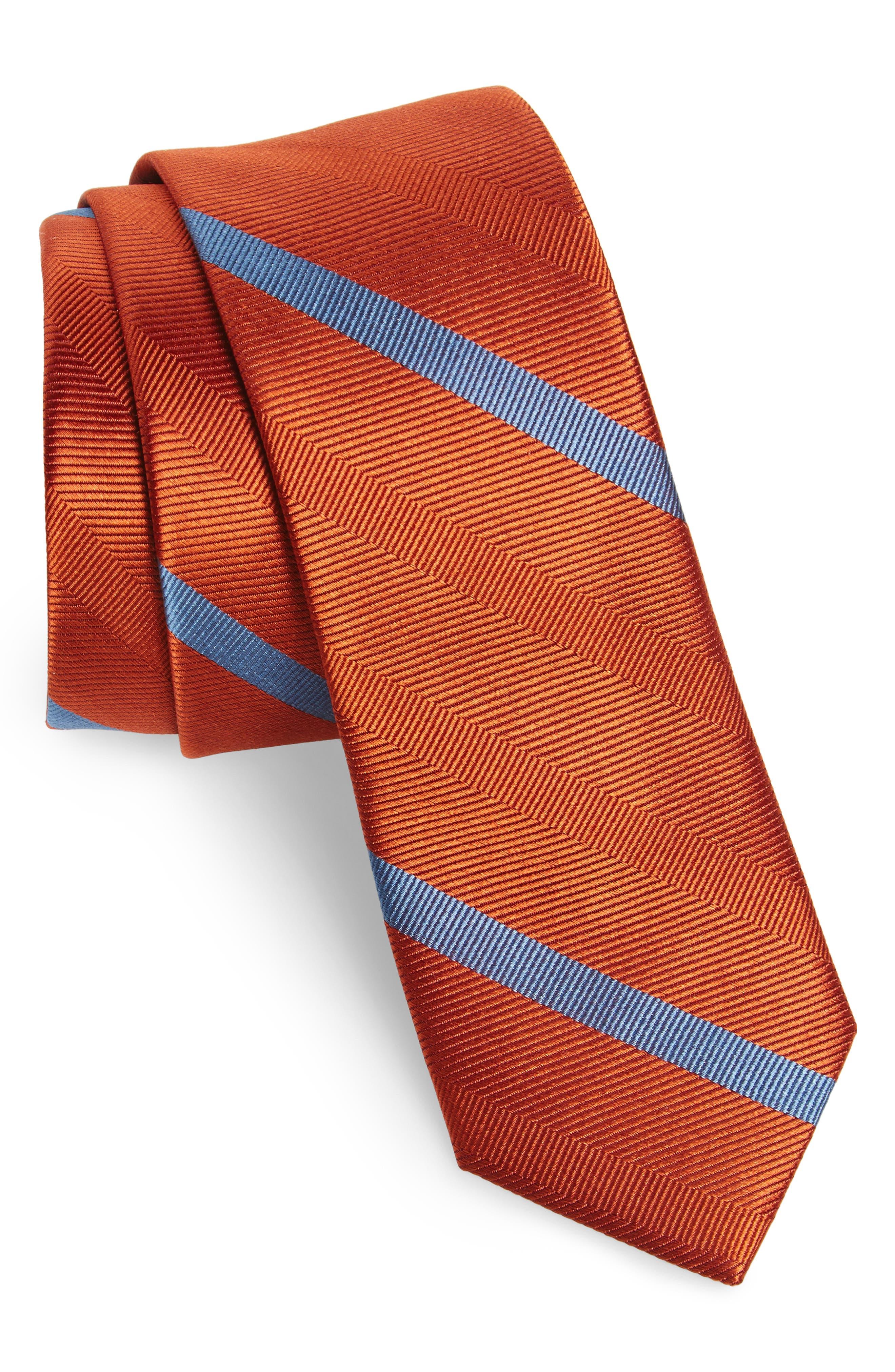 Goal Line Stripe Silk Skinny Tie,                             Main thumbnail 1, color,                             Orange