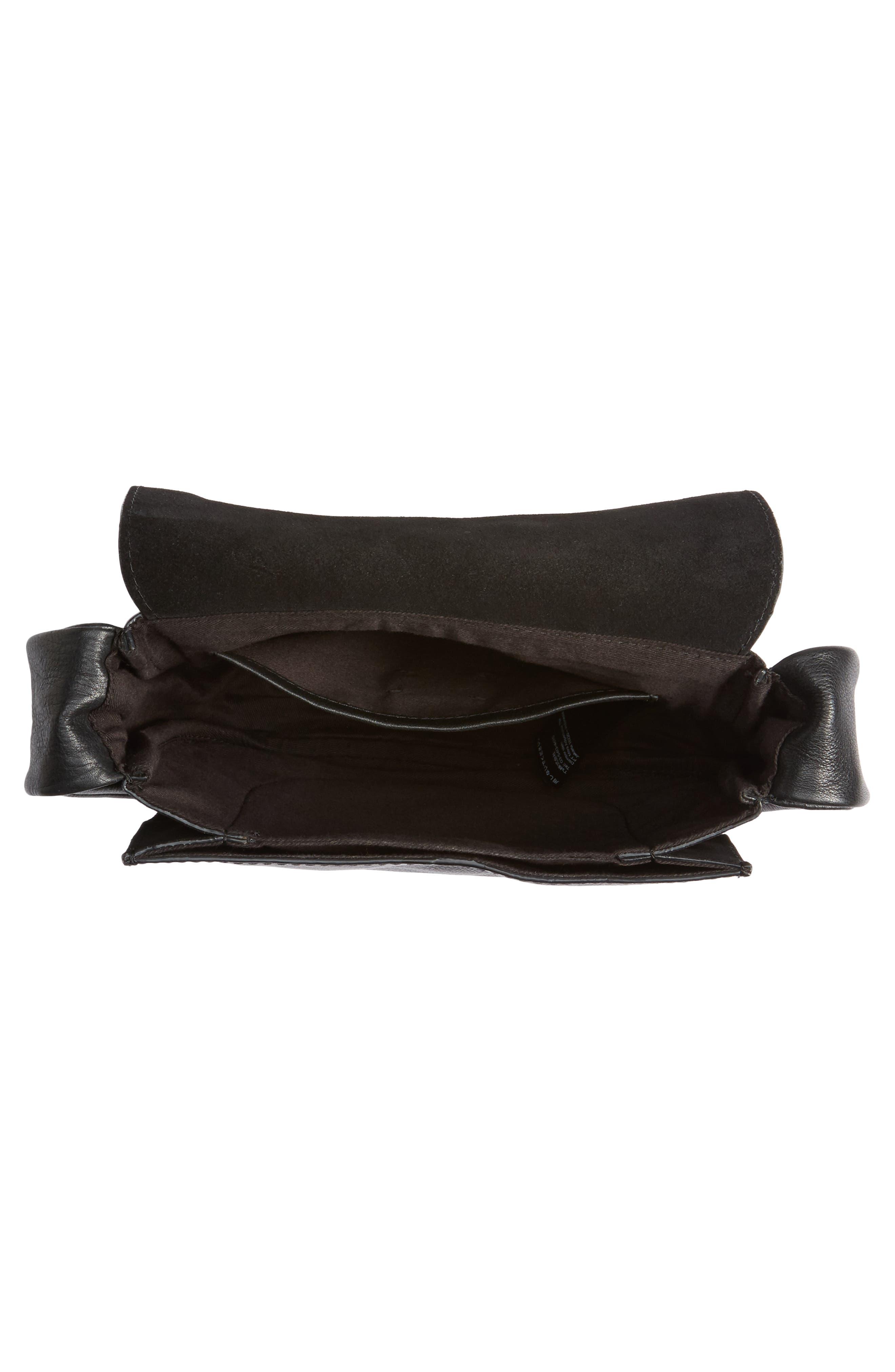 Jasmine Leather Saddle Bag,                             Alternate thumbnail 5, color,                             Black