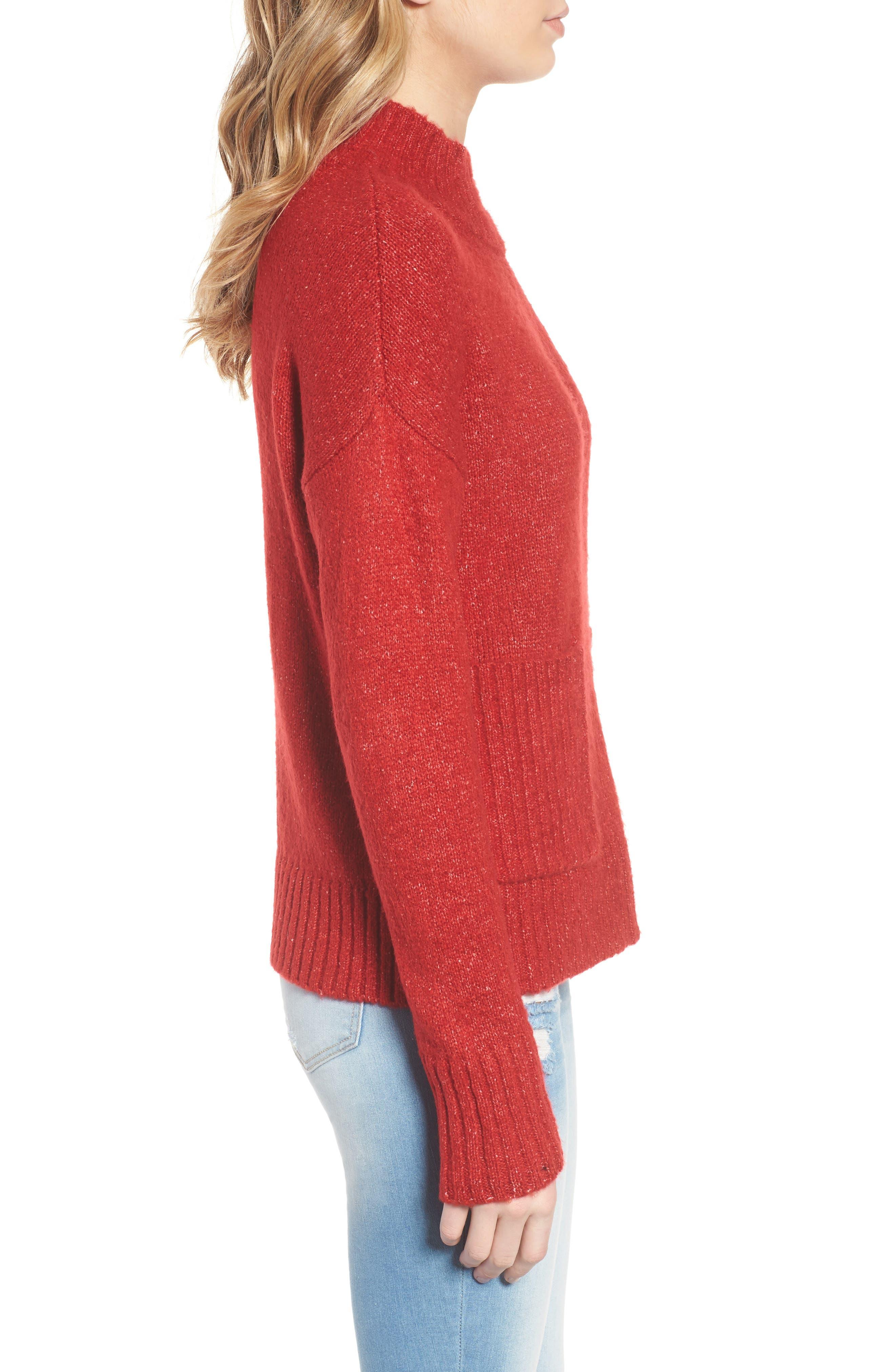 Mock Neck Patch Pocket Pullover,                             Alternate thumbnail 3, color,                             Red