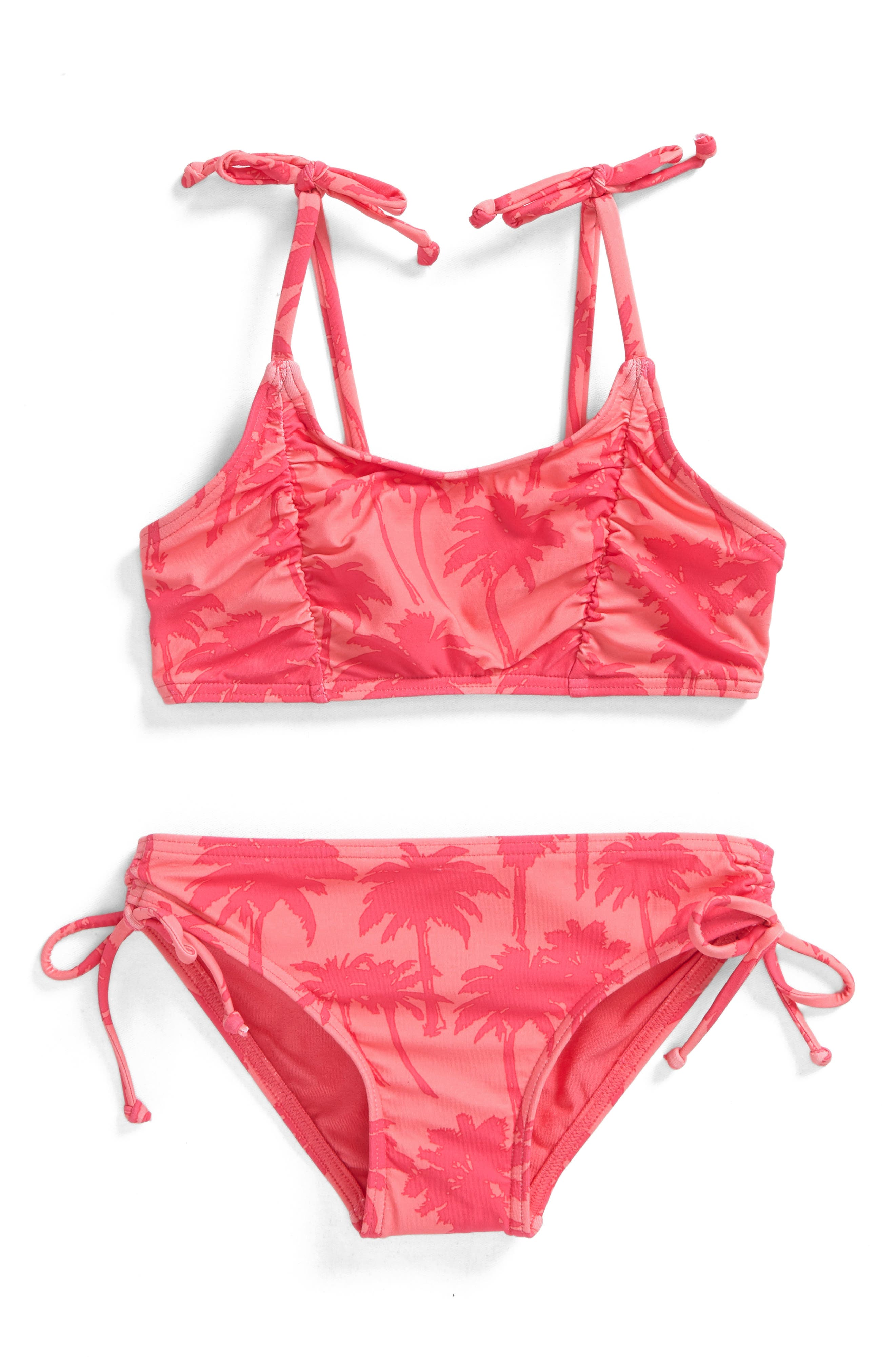 Palm Two-Piece Swimsuit,                             Main thumbnail 1, color,                             Coral - Crl