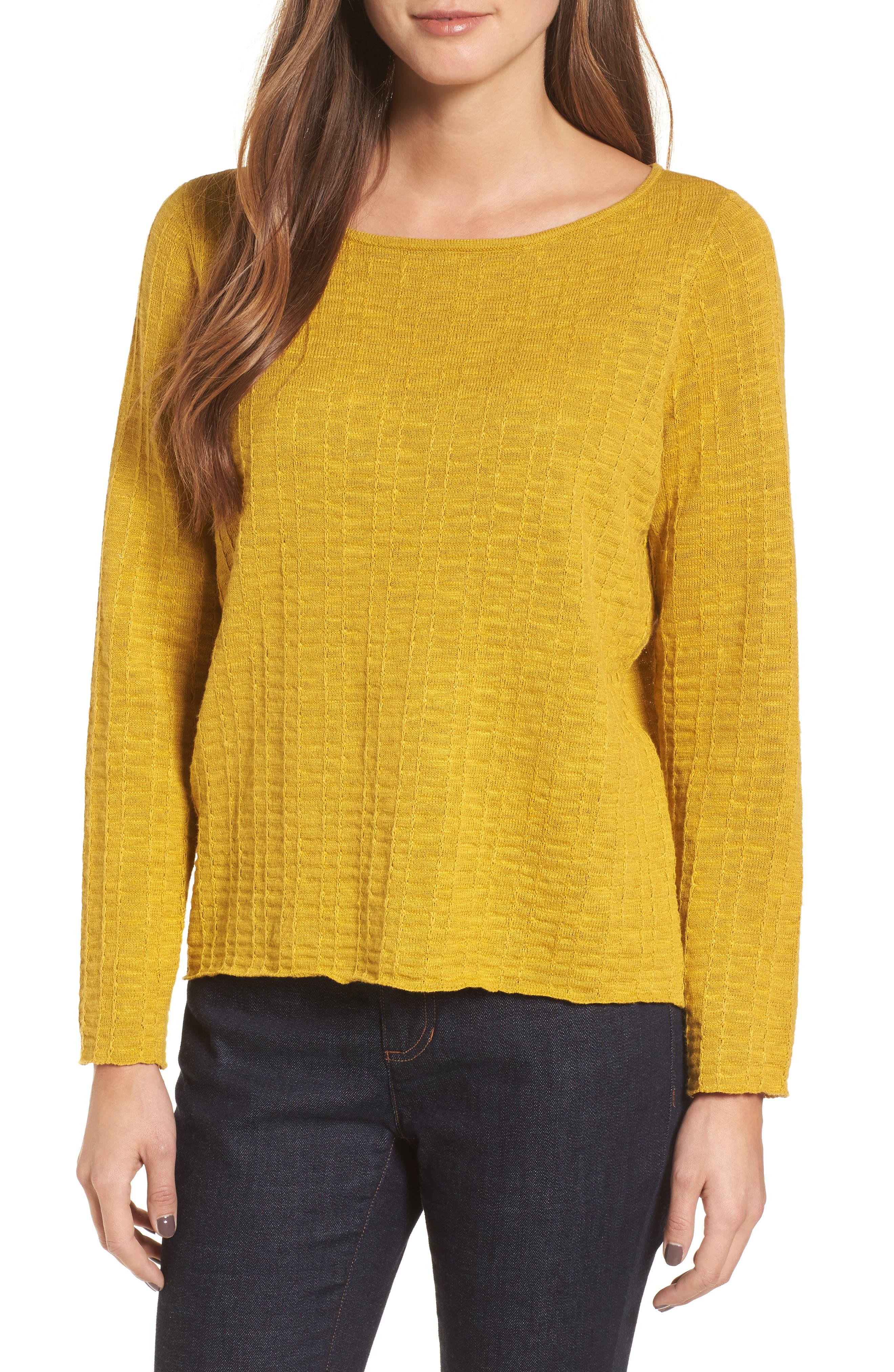 Organic Linen & Cotton Sweater,                             Main thumbnail 1, color,                             Mustard Seed