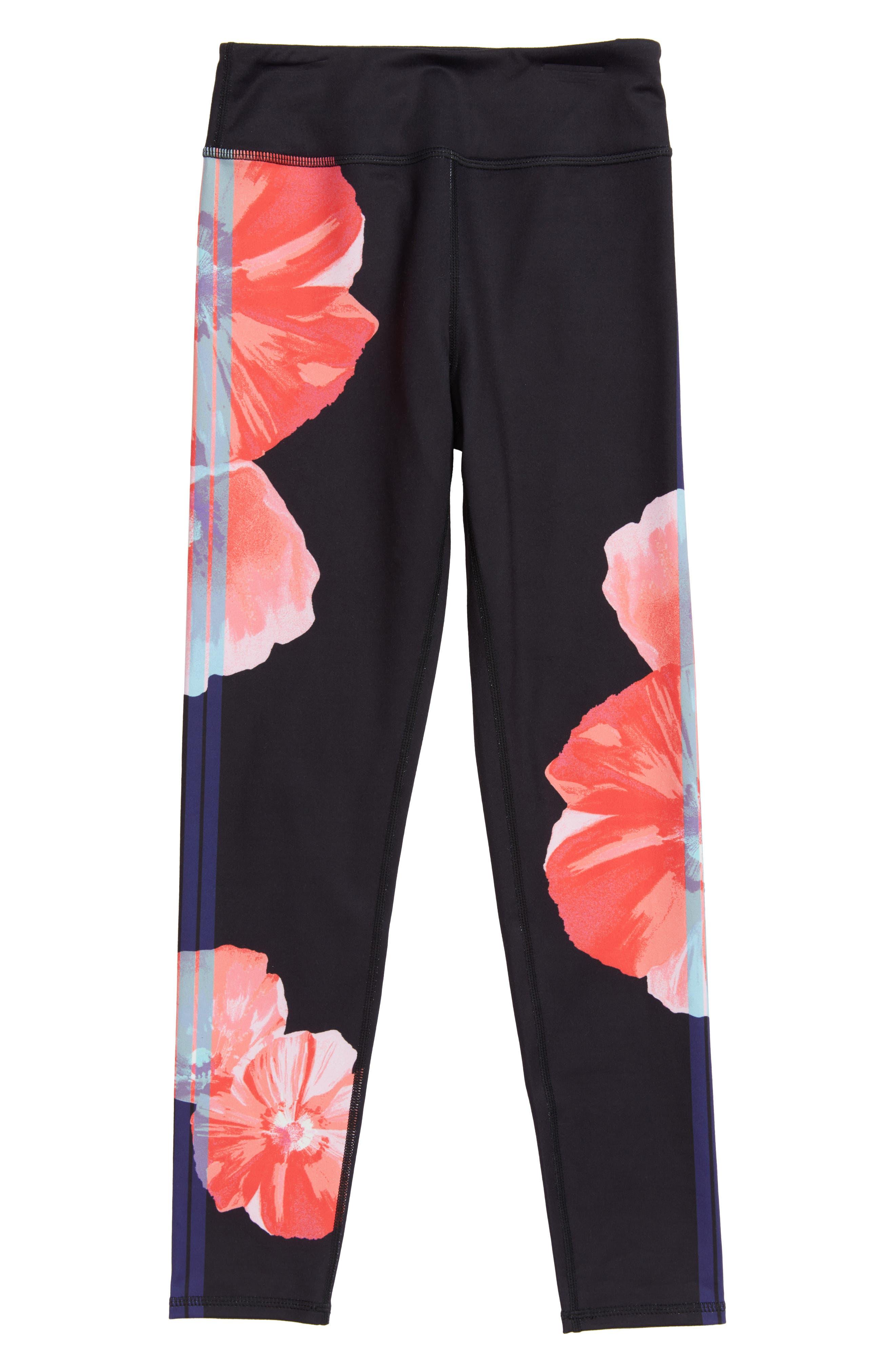 Print Leggings,                         Main,                         color, Black Floral Stripe