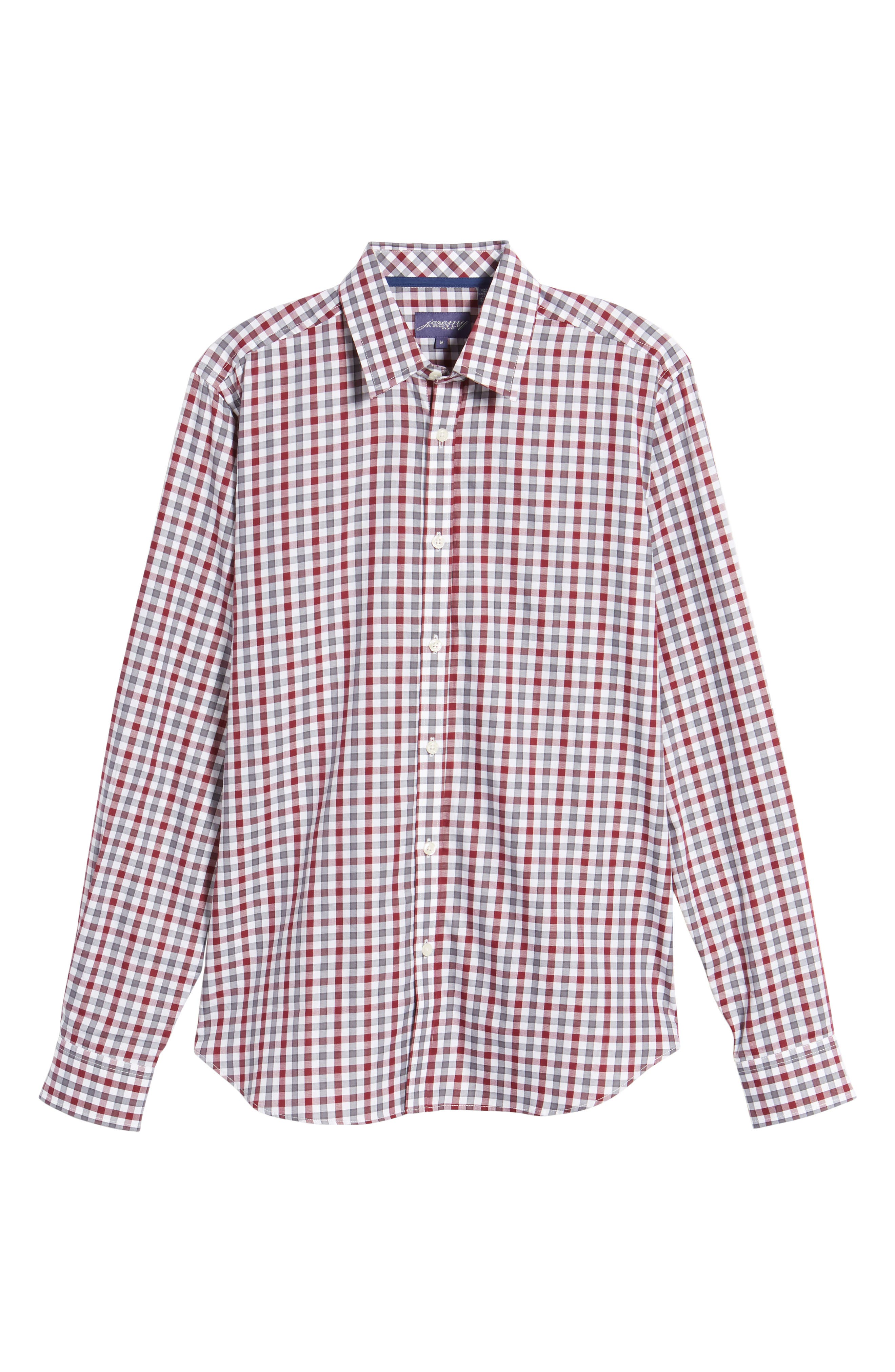 Fitted Check Sport Shirt,                             Alternate thumbnail 6, color,                             Dark Red