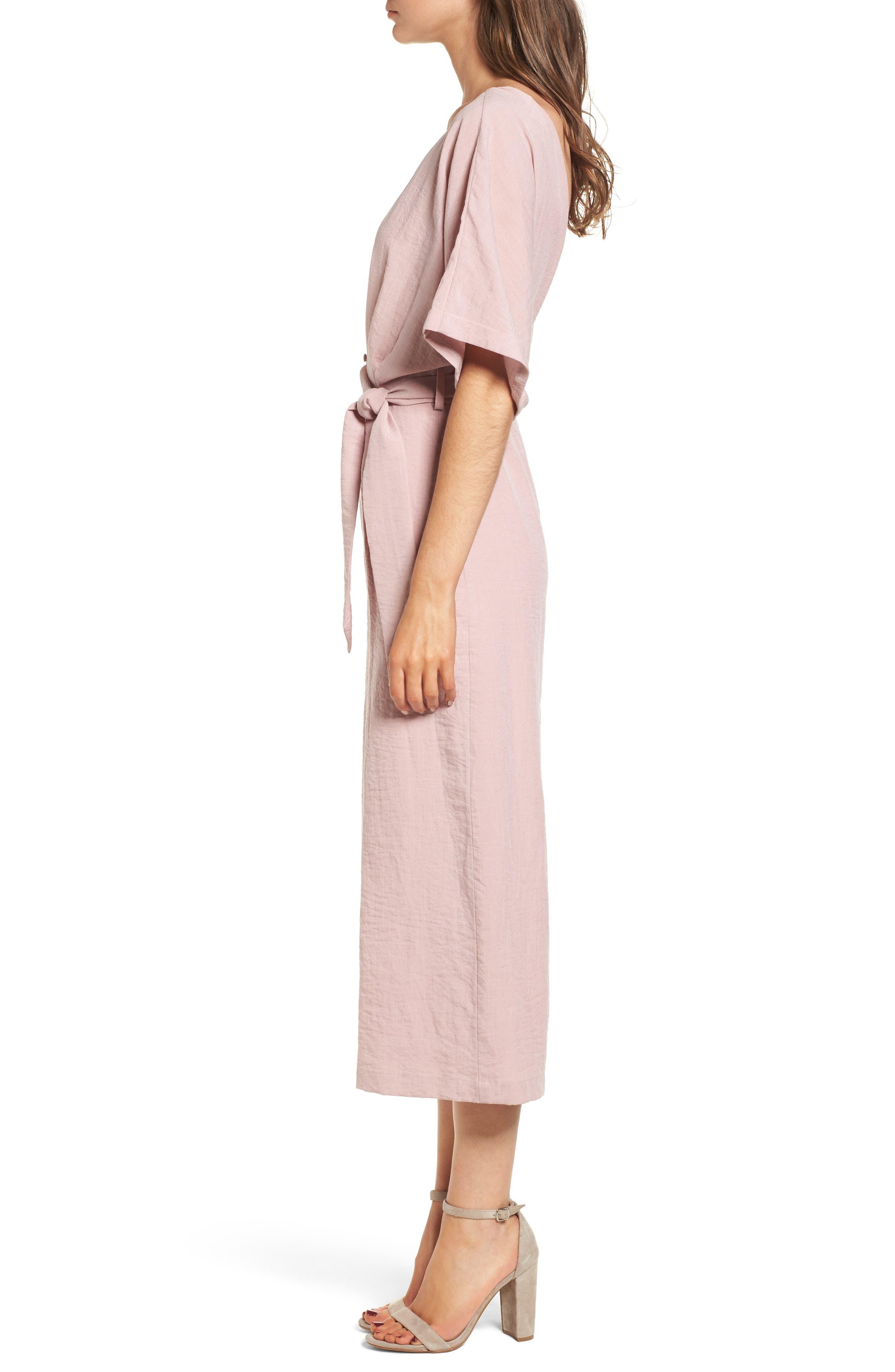 Peony Tie Waist Jumpsuit,                             Alternate thumbnail 4, color,                             Pink