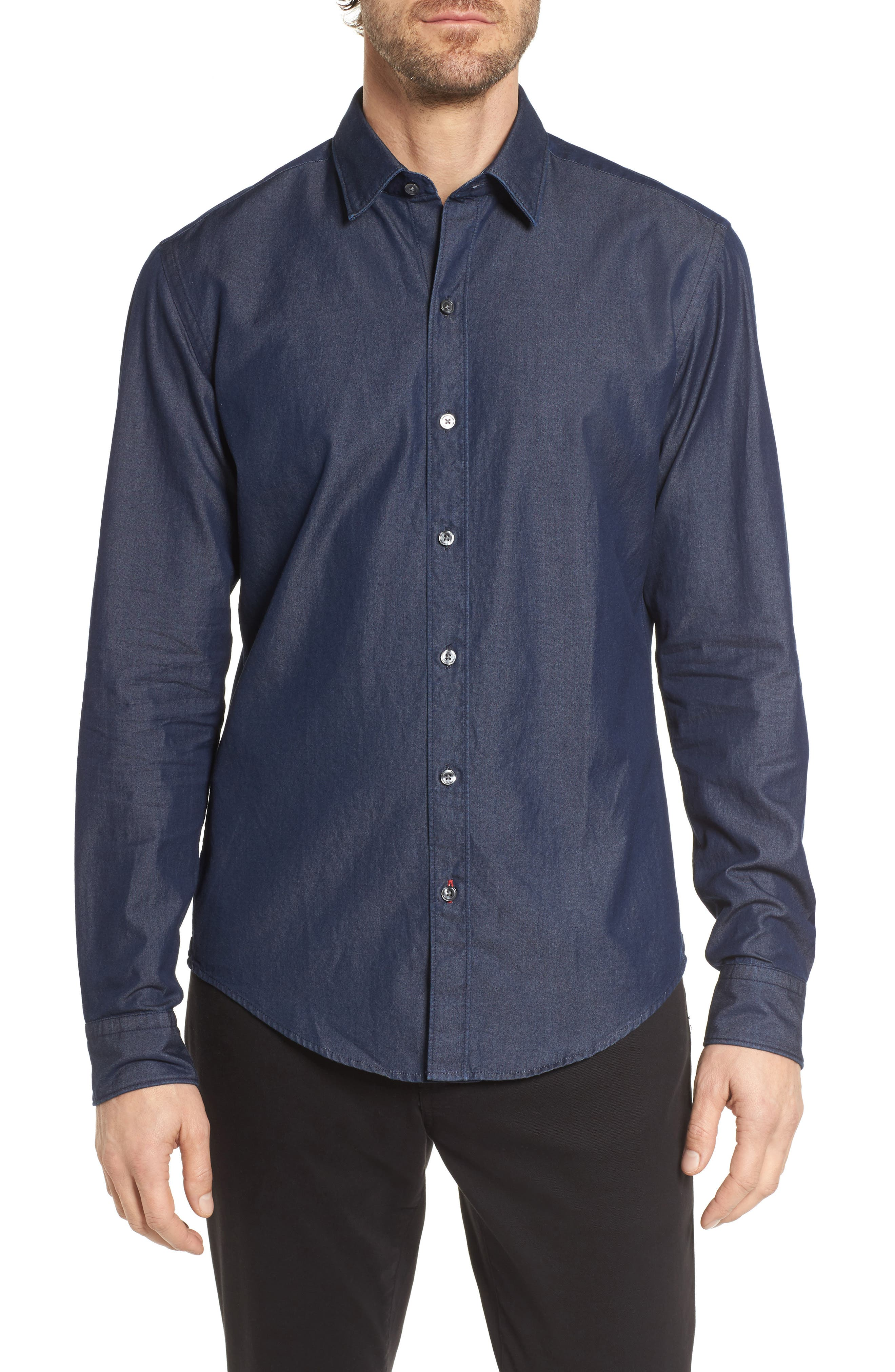 Robbie Regular Fit Denim Sport Shirt,                         Main,                         color, Blue
