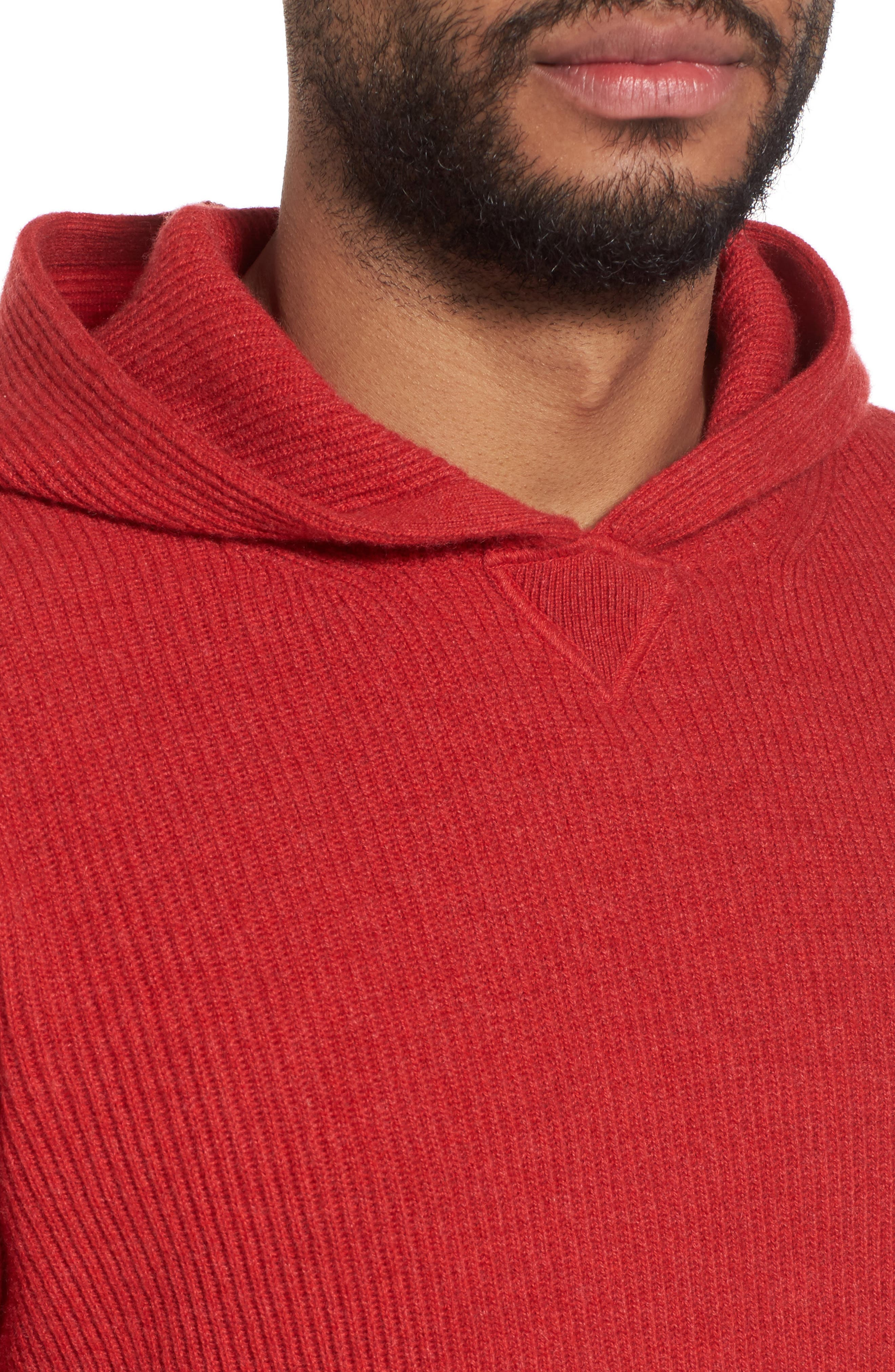 Cashmere Hoodie,                             Alternate thumbnail 4, color,                             Red