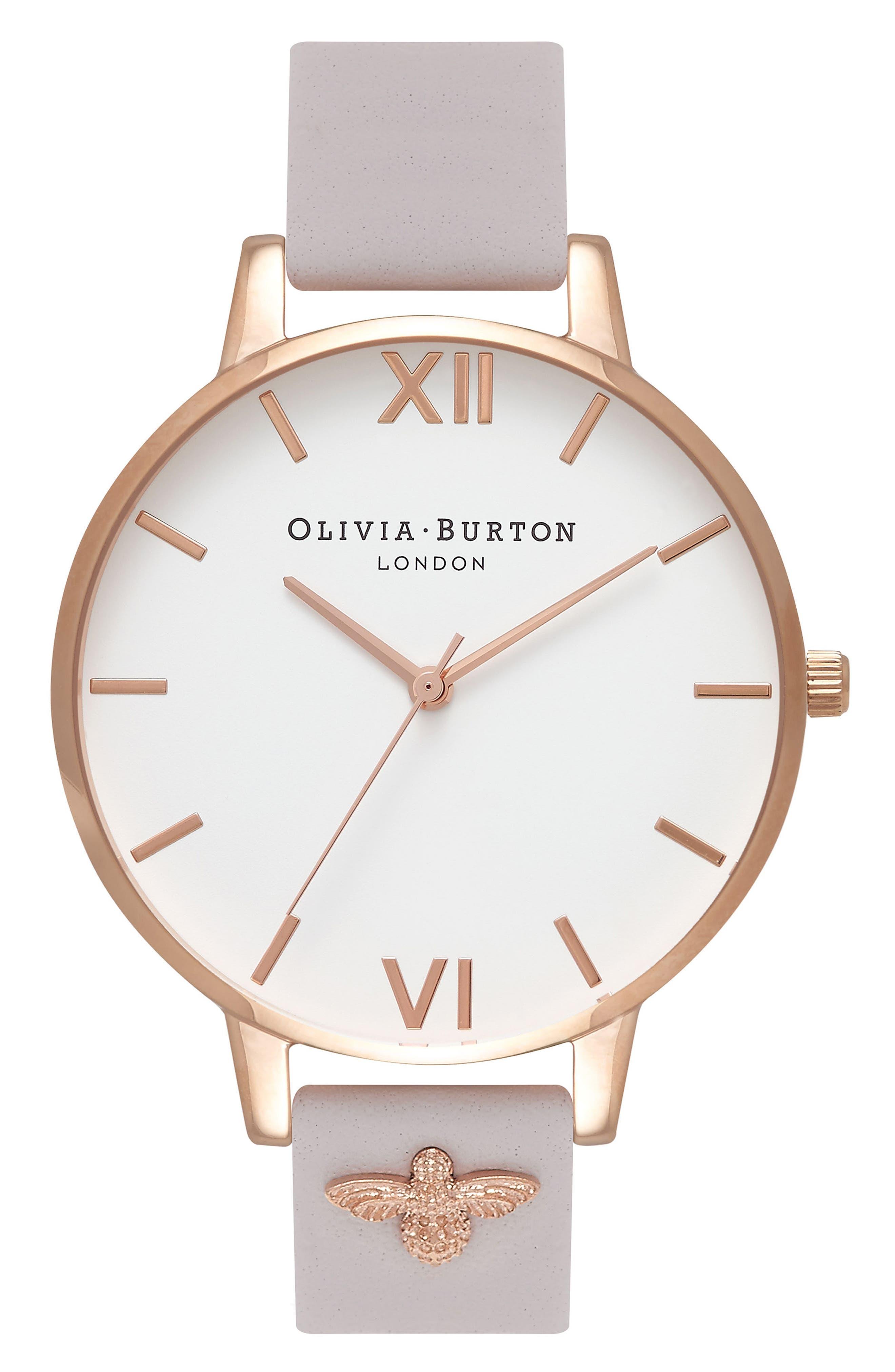 Olivia Burton 3D Bee Leather Strap Watch, 38mm