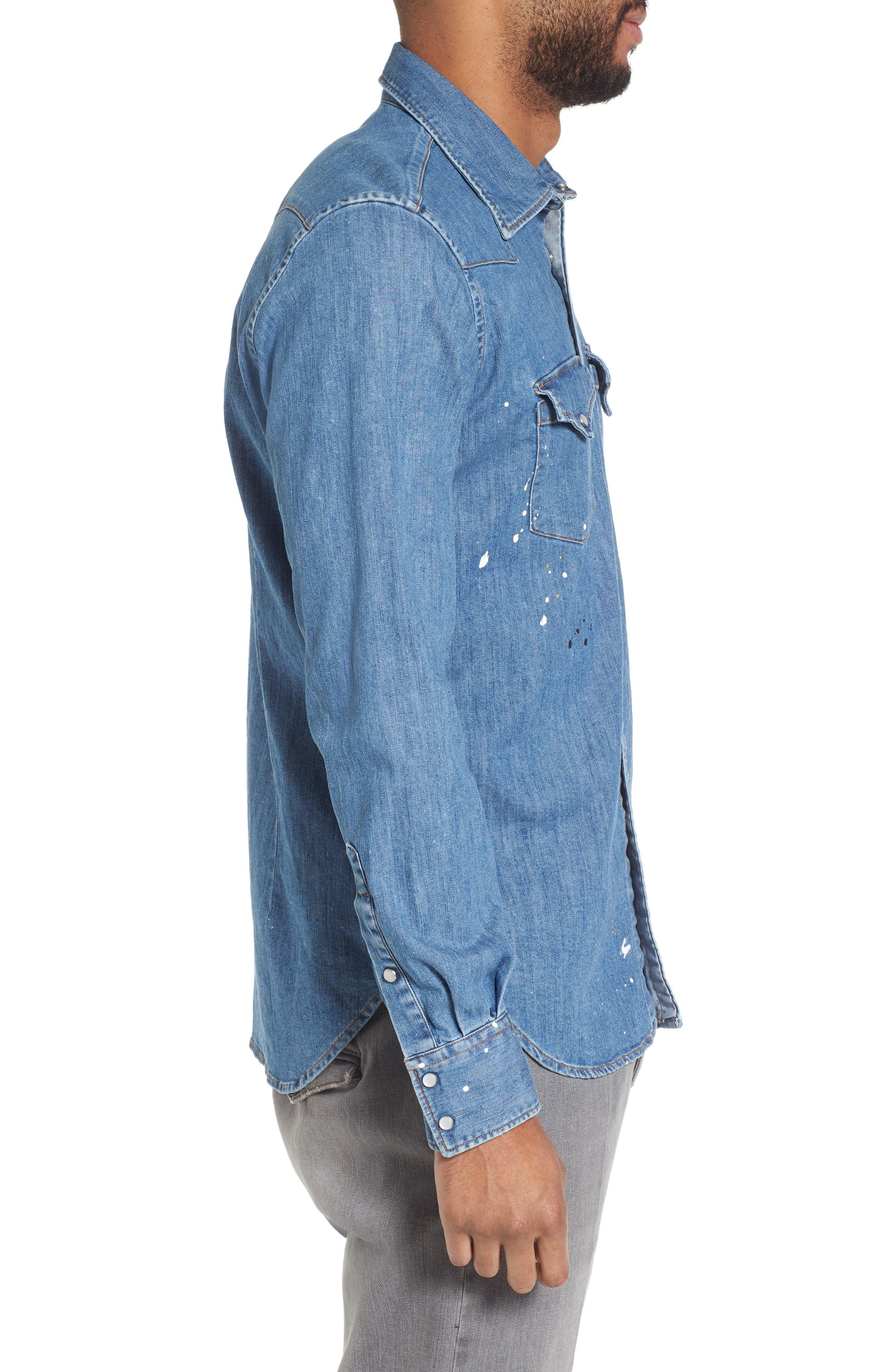 Slim Fit Paint Splatter Denim Sport Shirt,                             Alternate thumbnail 3, color,                             Denim