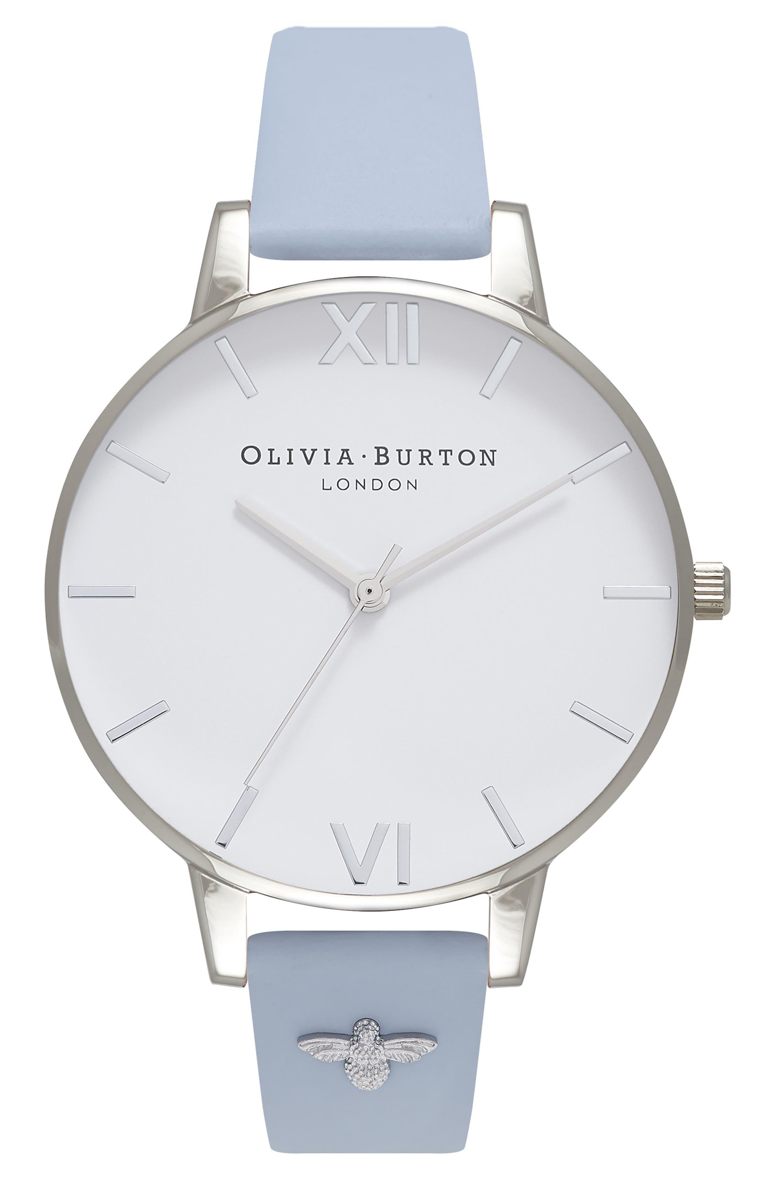 Main Image - Olivia Burton 3D Bee Leather Strap Watch, 38mm