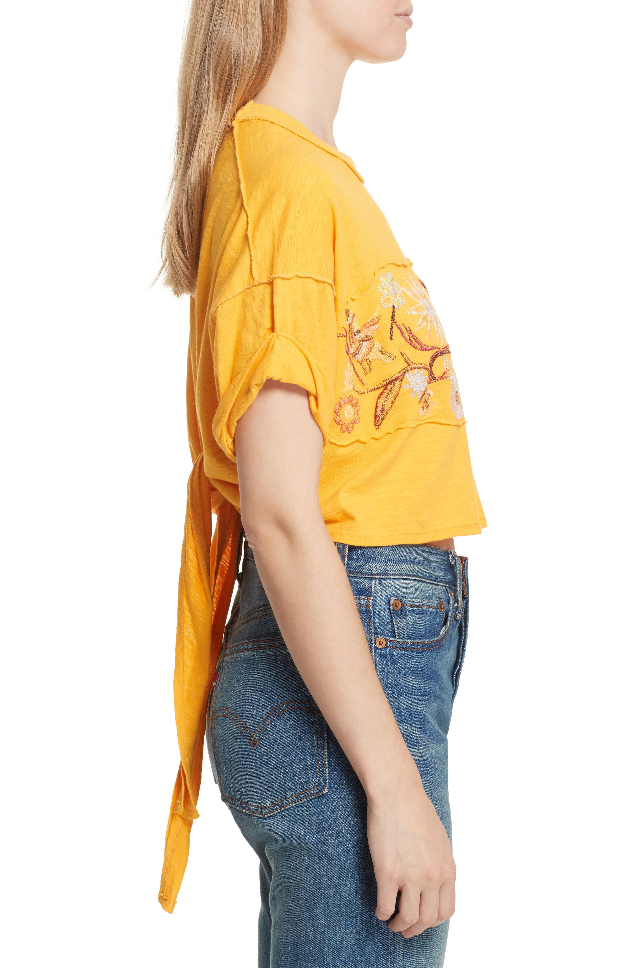 Garden Time Embroidered Tee,                             Alternate thumbnail 3, color,                             Yellow