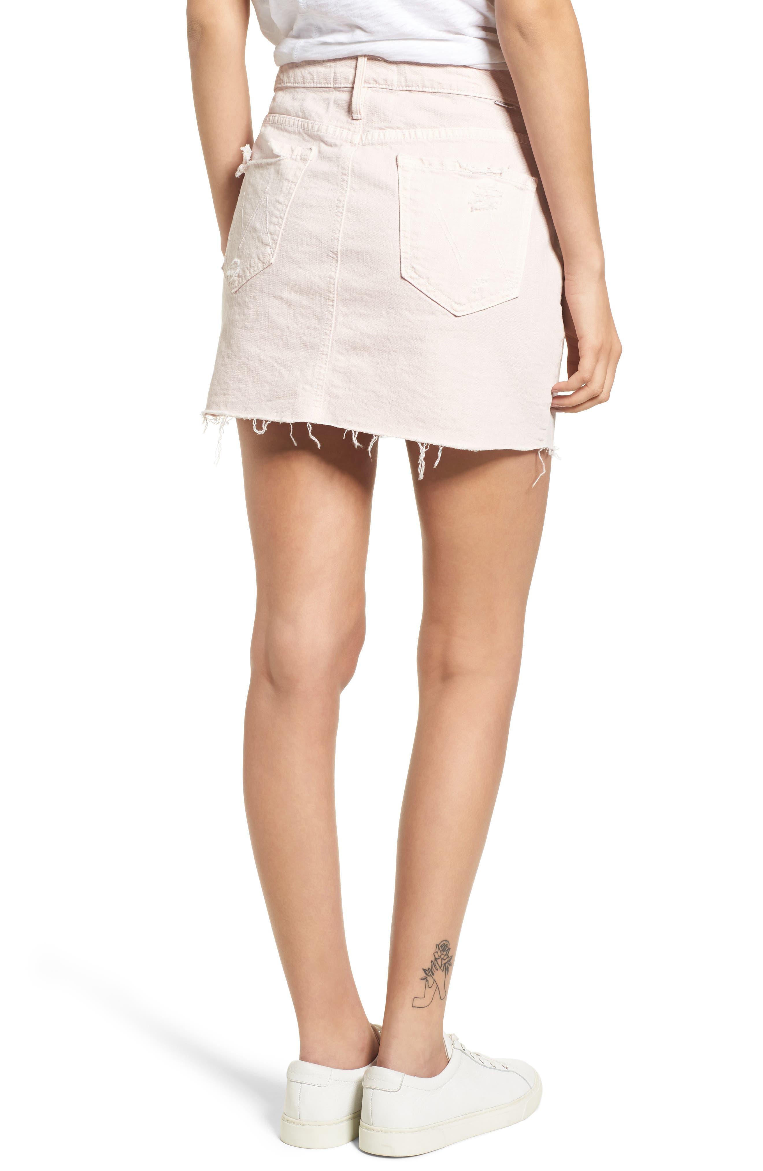 The Vagabond Cutoff Denim Miniskirt,                             Alternate thumbnail 3, color,                             Soft Pink