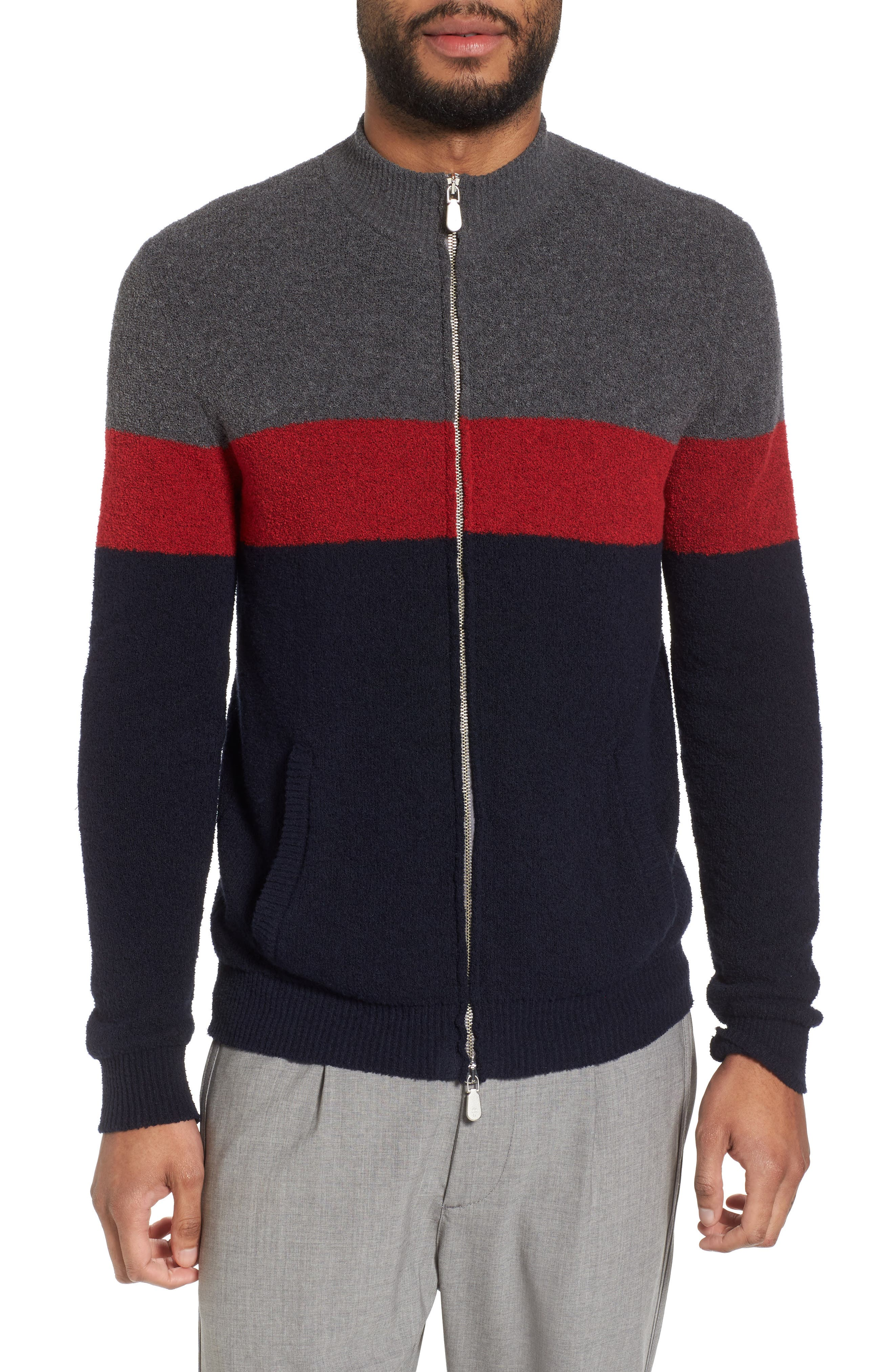 Colorblock Zip Sweater,                             Main thumbnail 1, color,                             Navy/ Red