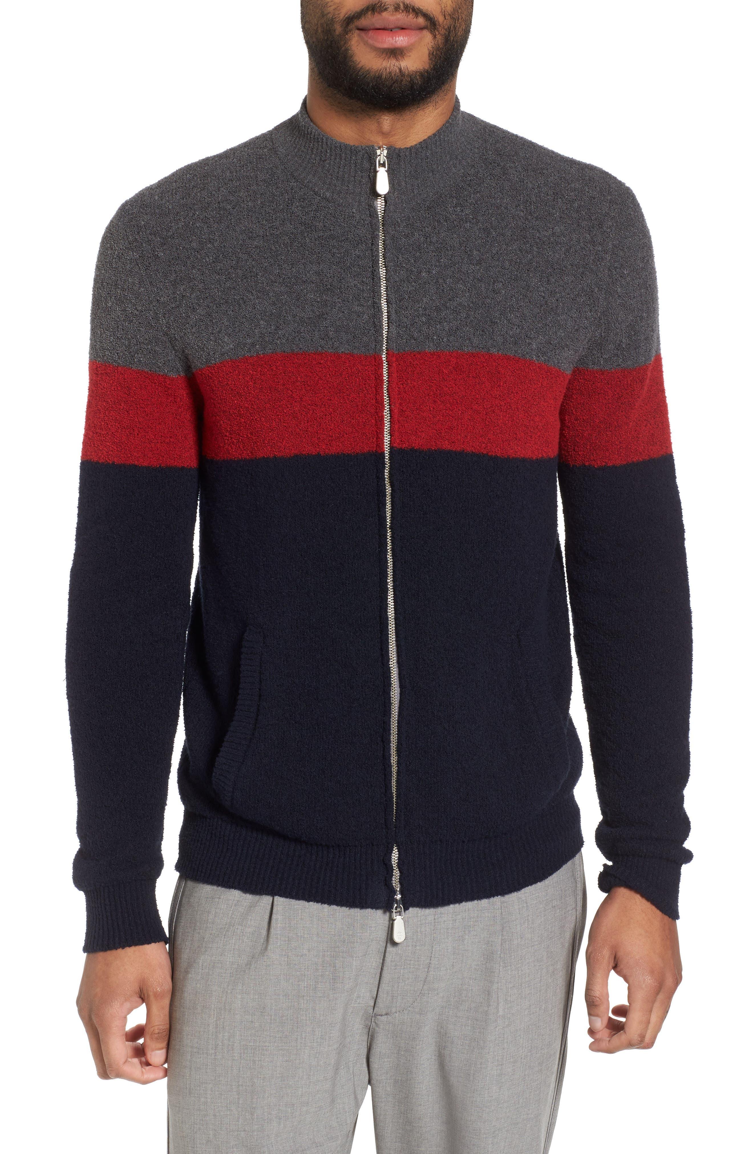 Colorblock Zip Sweater,                         Main,                         color, Navy/ Red