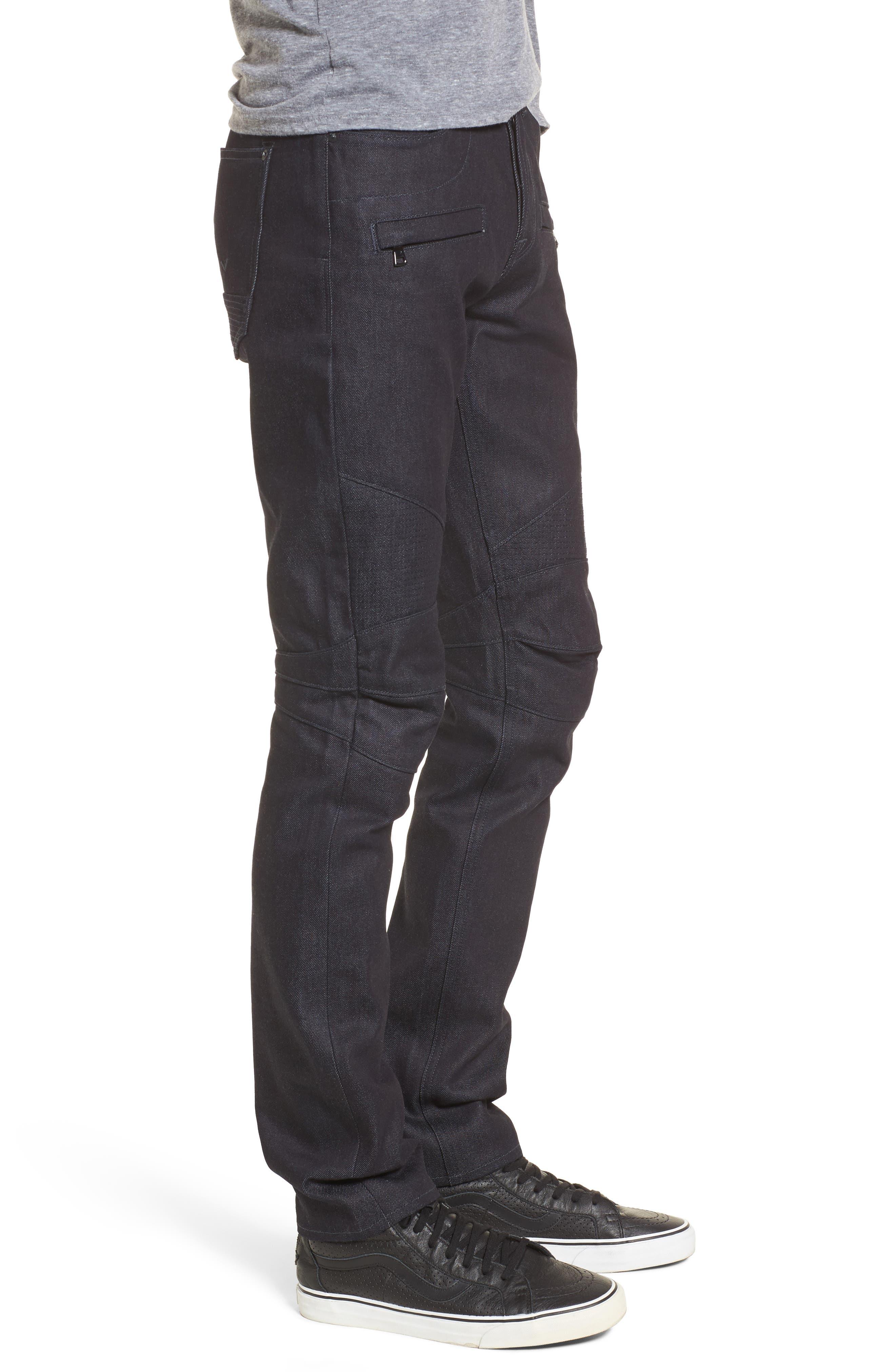 Blinder Biker Skinny Fit Jeans,                             Alternate thumbnail 3, color,                             Raw