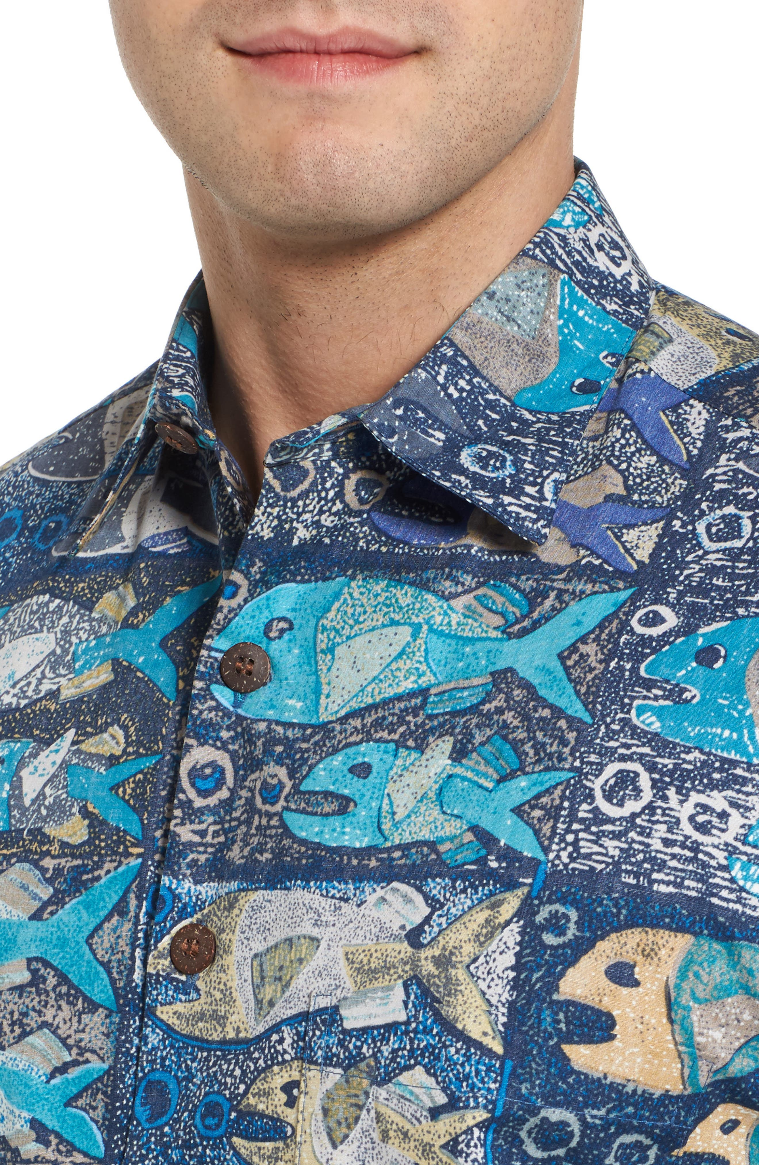 Stone Fish Print Sport Shirt,                             Alternate thumbnail 4, color,                             Navy