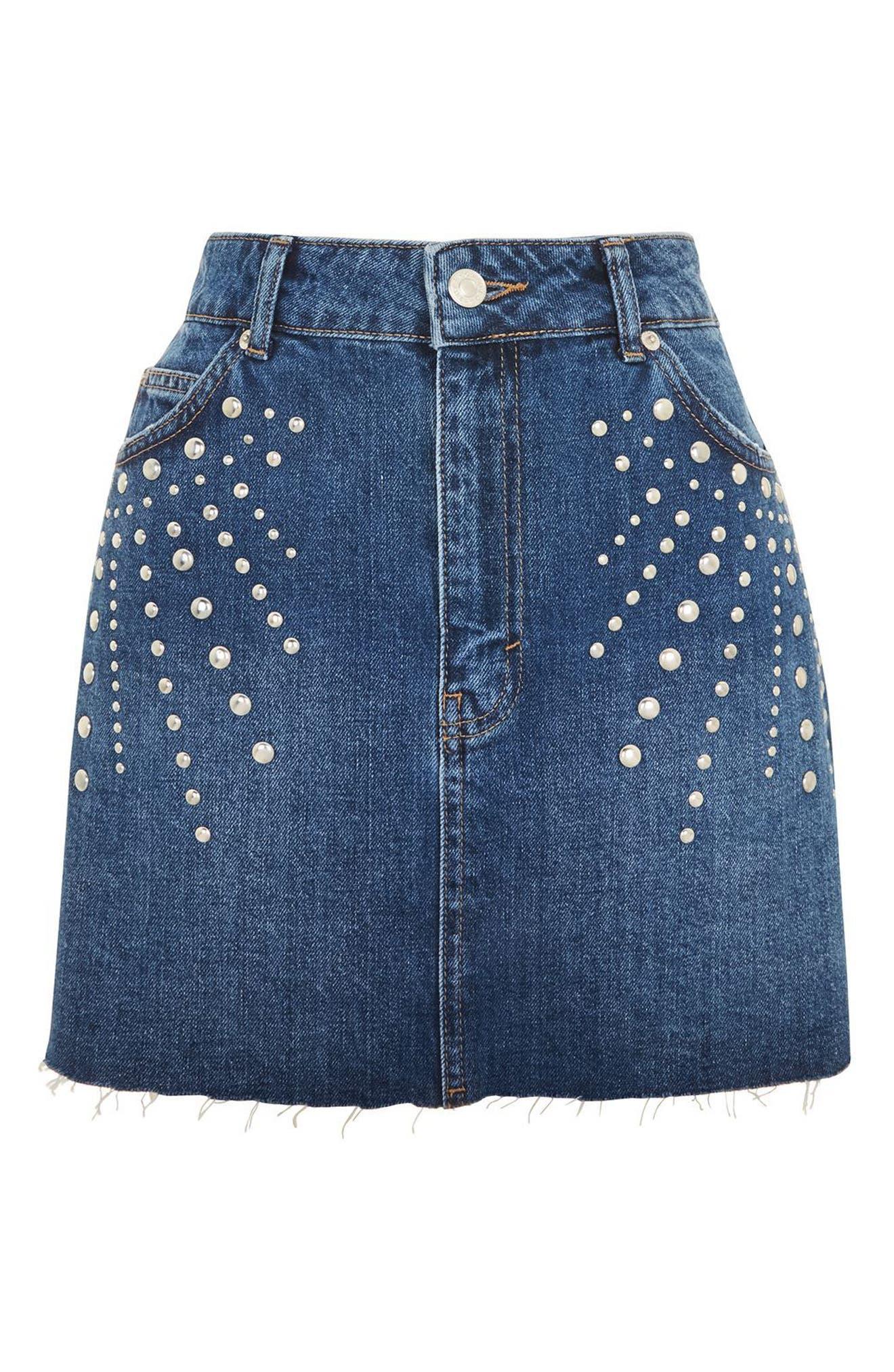 Spray Studded Denim Skirt,                             Main thumbnail 1, color,                             Mid Denim