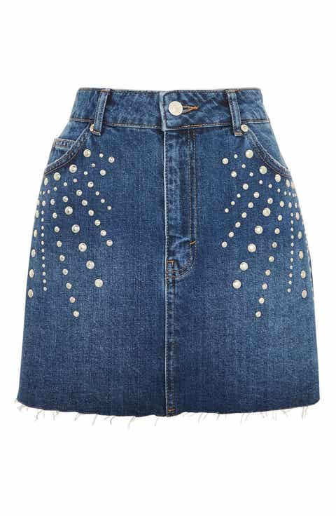 Topshop Spray Studded Denim Skirt