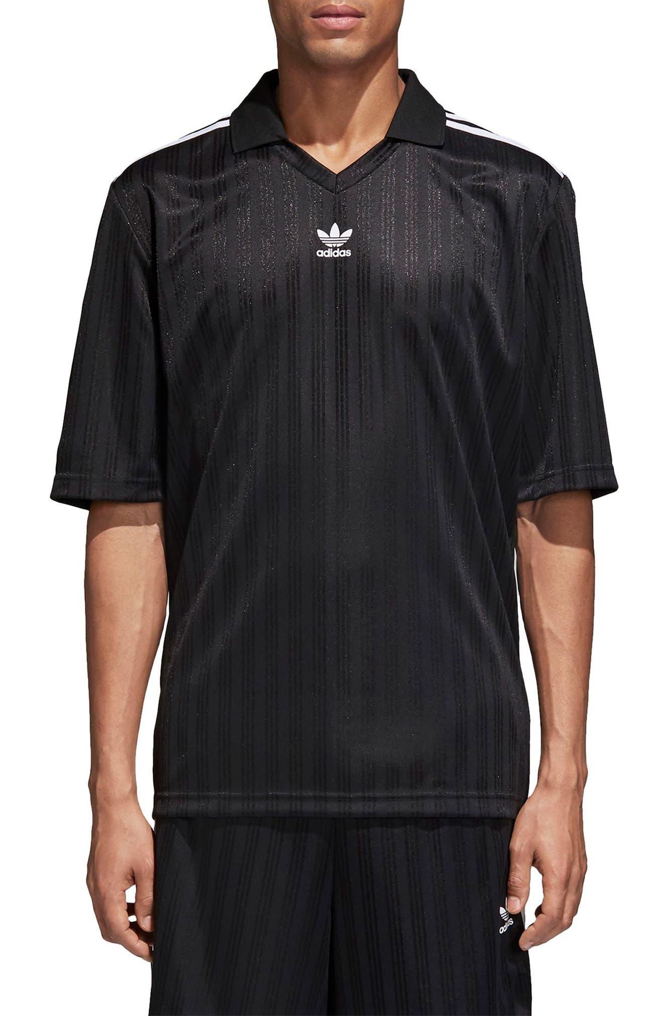 adidas Football Jersey Polo,                             Main thumbnail 1, color,                             Black