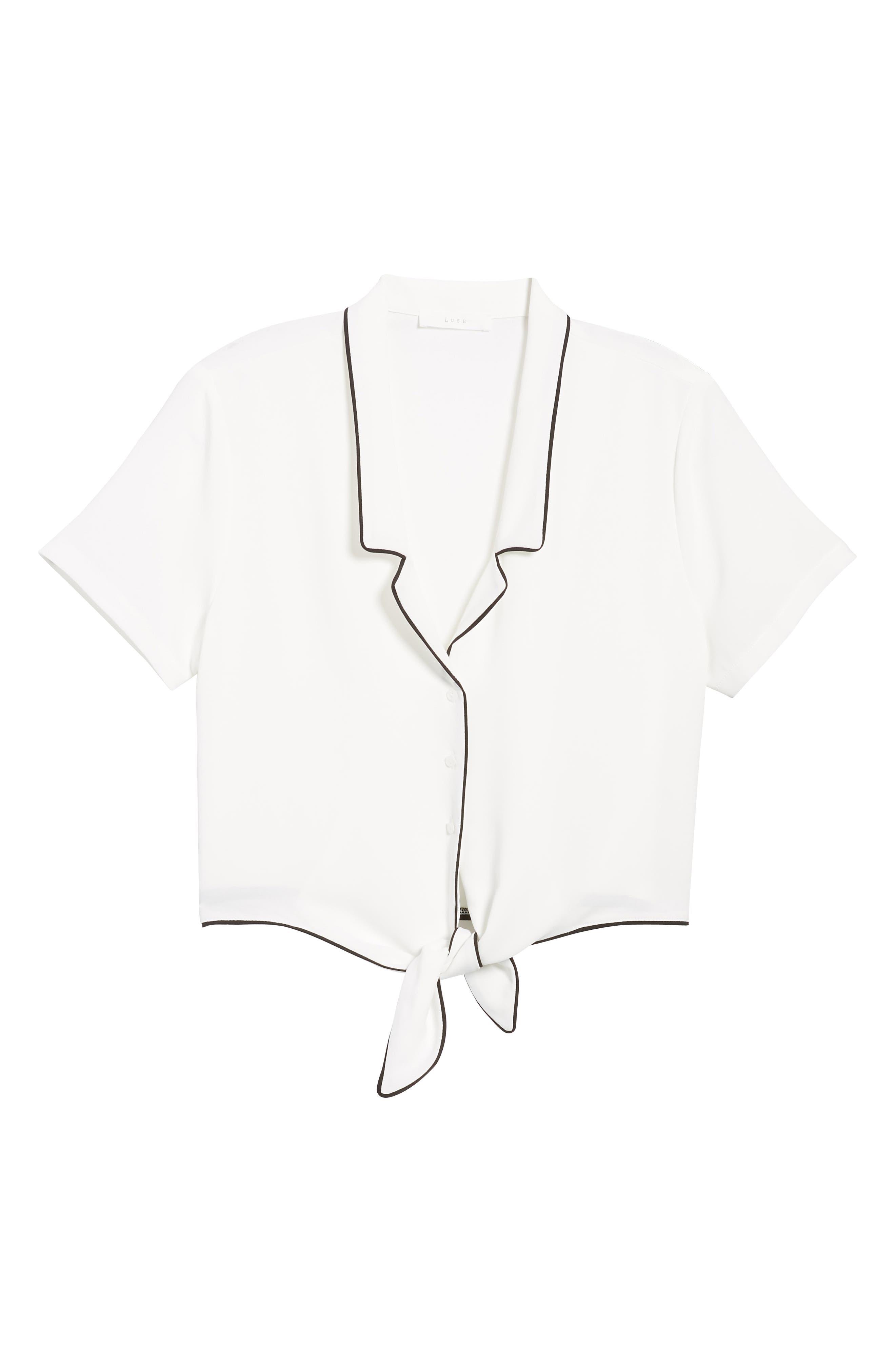 Tie Front Button-Up Shirt,                             Alternate thumbnail 6, color,                             White/ Black