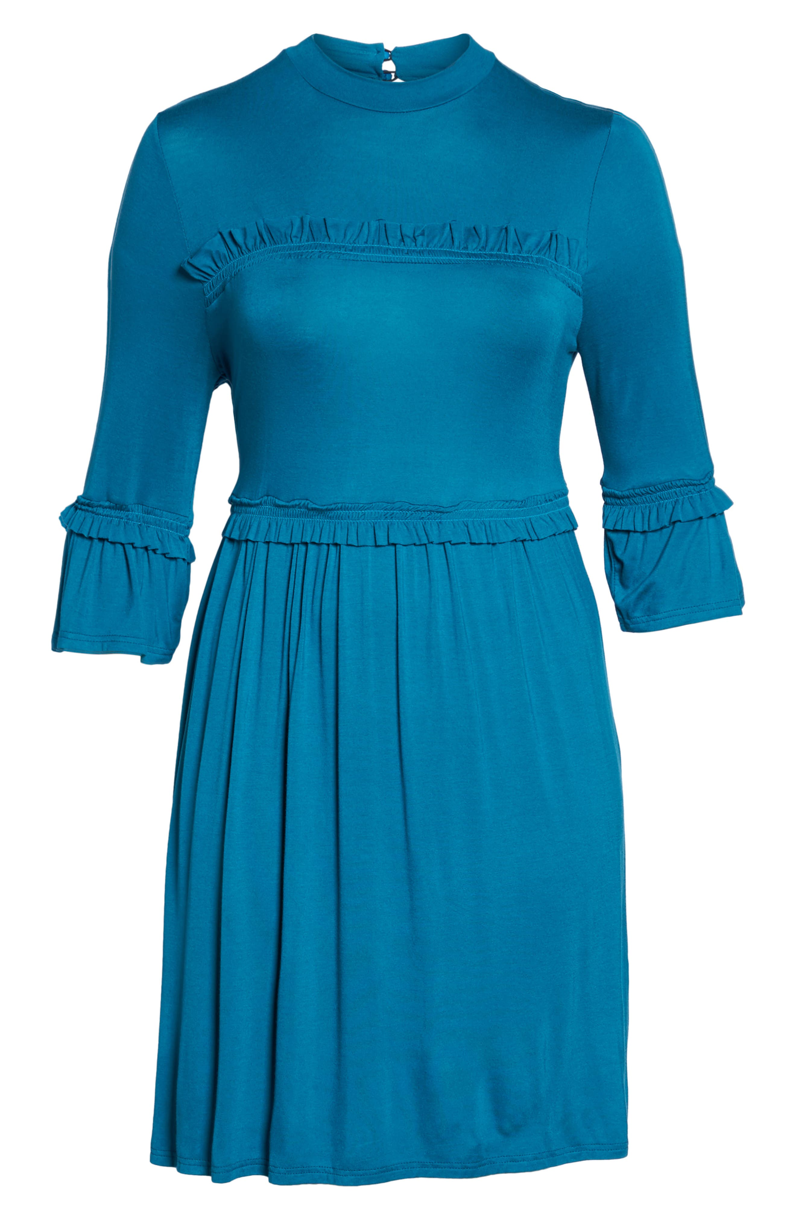 Alternate Image 6  - LOST INK Double Frill Skater Dress (Plus Size)