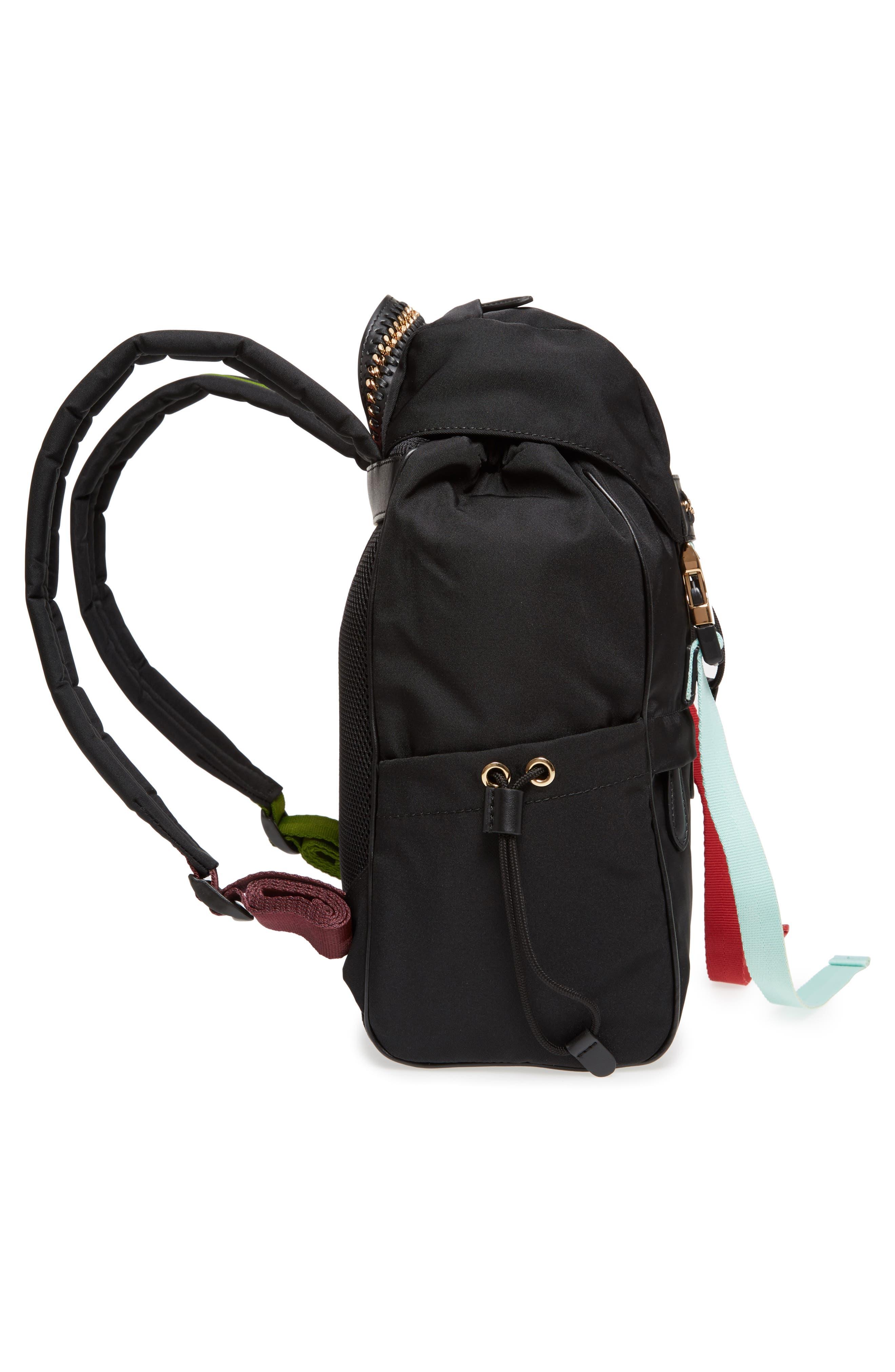 Small Eco Nylon Backpack,                             Alternate thumbnail 4, color,                             Black Multi