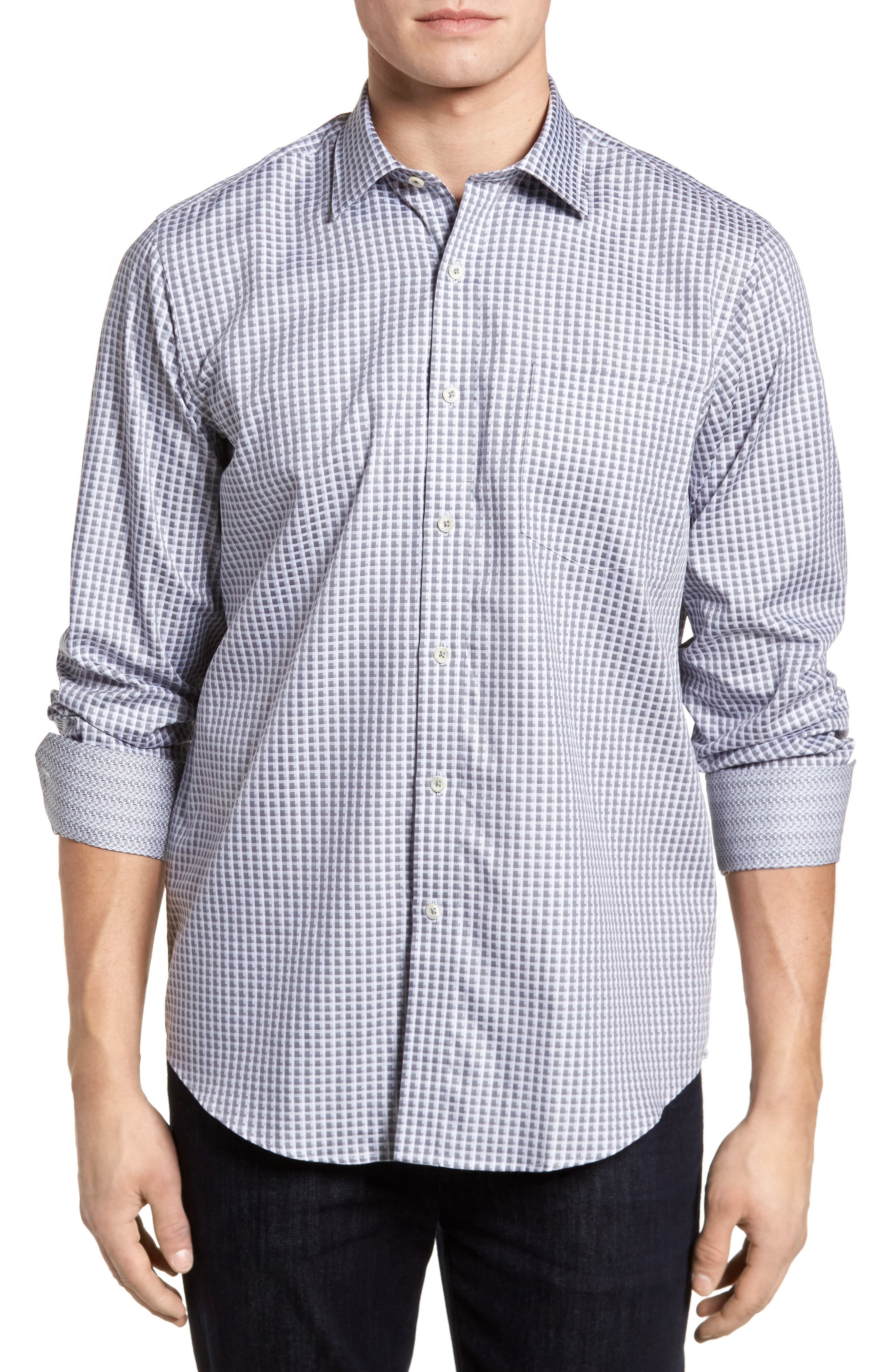 Regular Fit Check Sport Shirt,                             Main thumbnail 1, color,                             Platinum