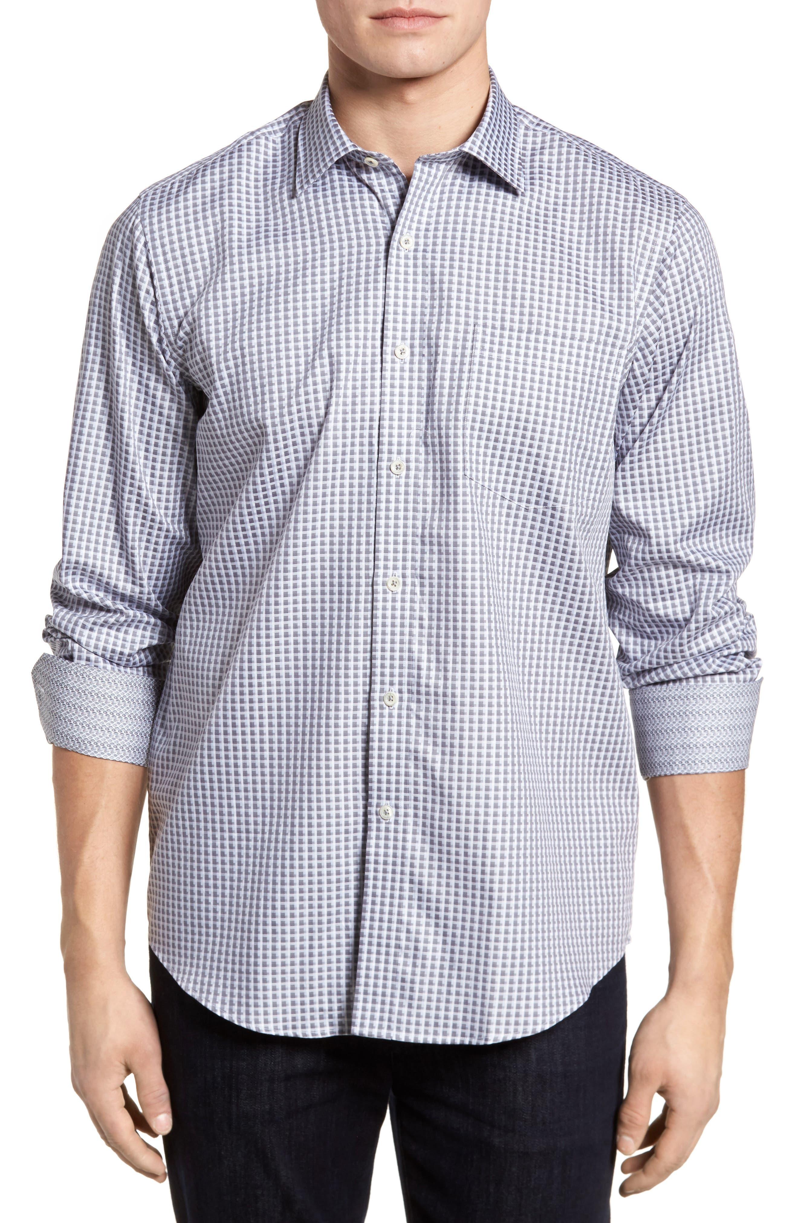 Regular Fit Check Sport Shirt,                         Main,                         color, Platinum
