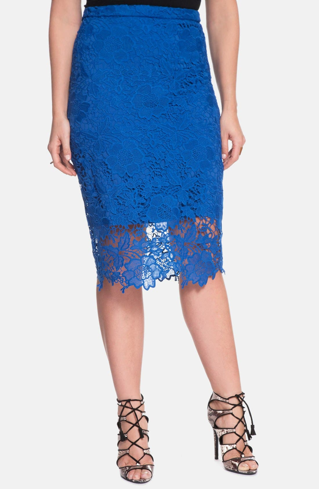 Alternate Image 1 Selected - ELOQUII Floral Lace Pencil Skirt (Plus Size)