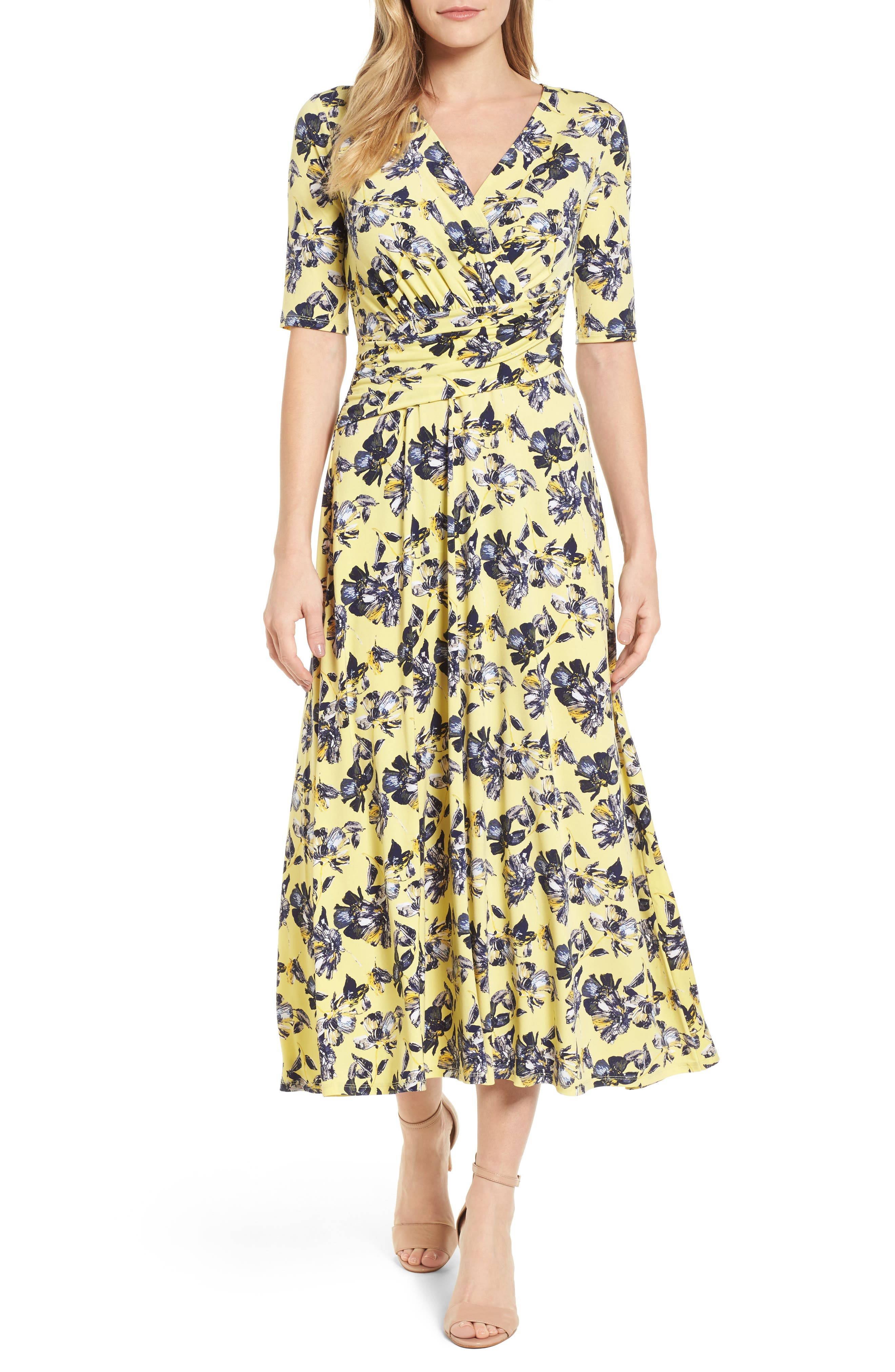 Floral Ruched Midi Dress,                         Main,                         color, 784-Vivid Canary