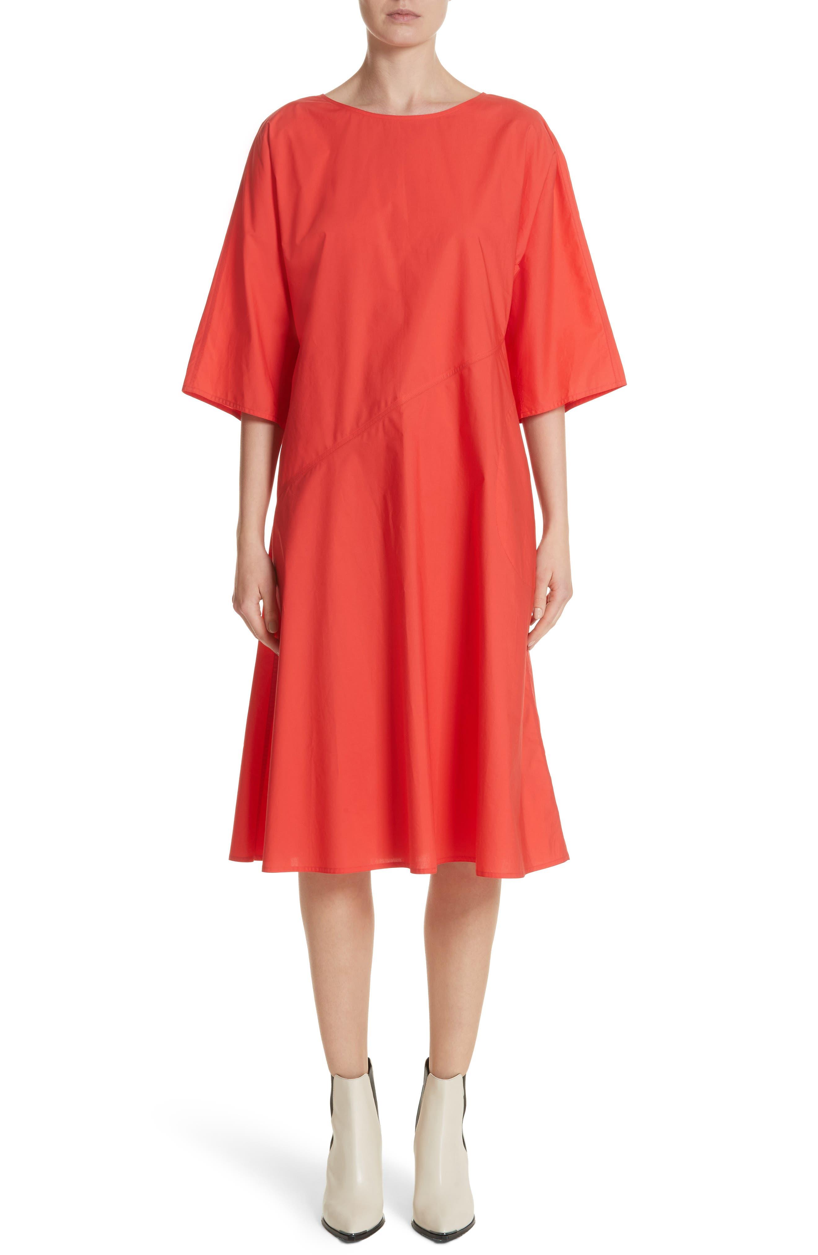 Diagonal Waist Dress,                         Main,                         color, Poppy