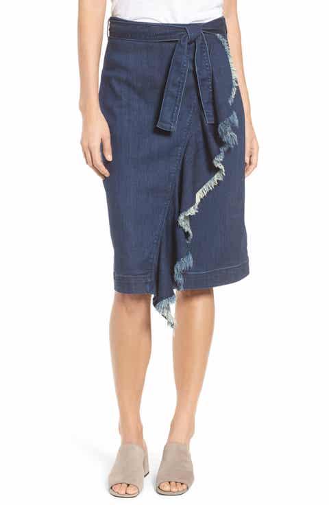 Halogen® Ruffle Front Denim Skirt (Regular & Petite)