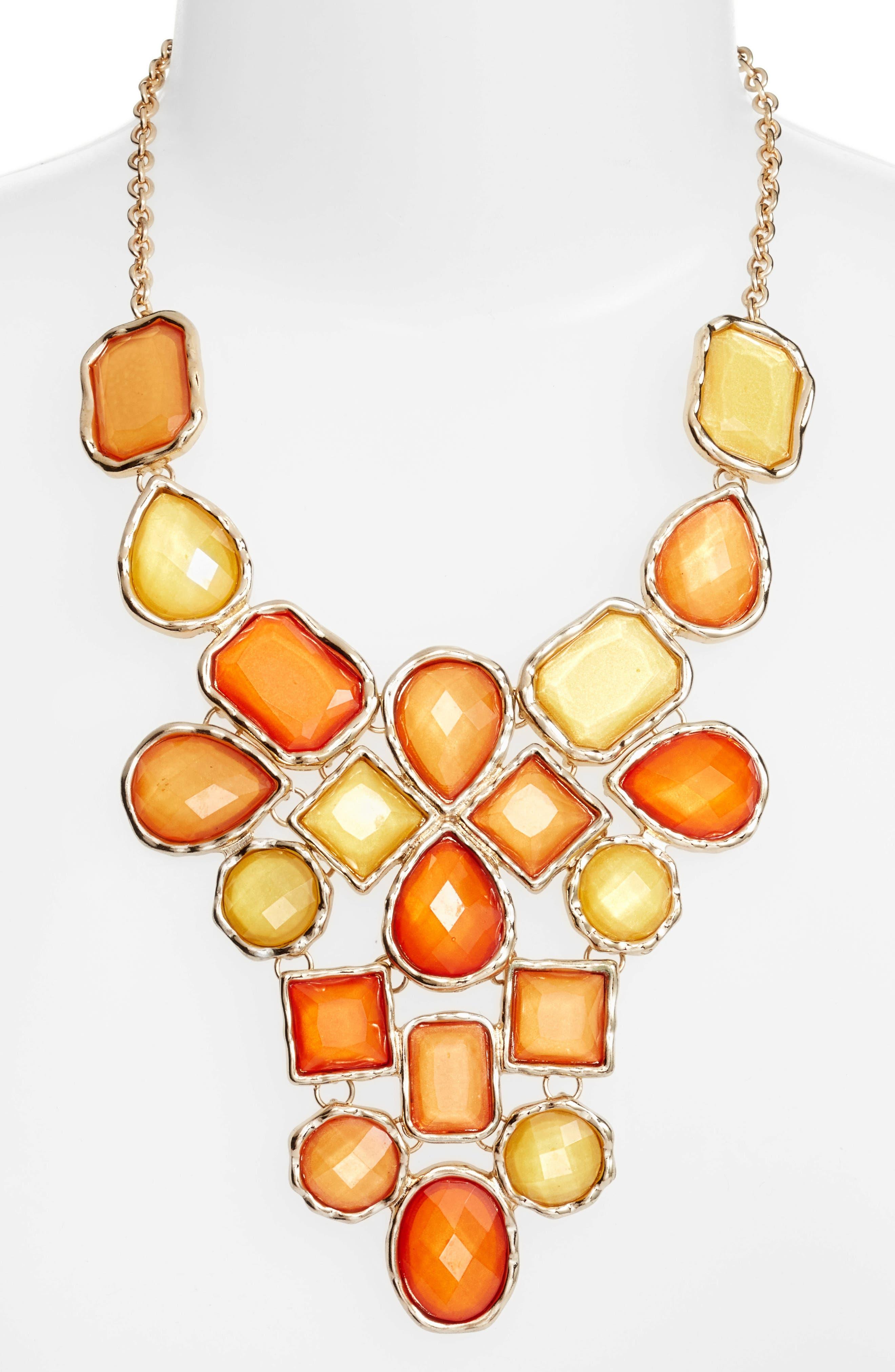 Stone Statement Necklace,                         Main,                         color, Orange