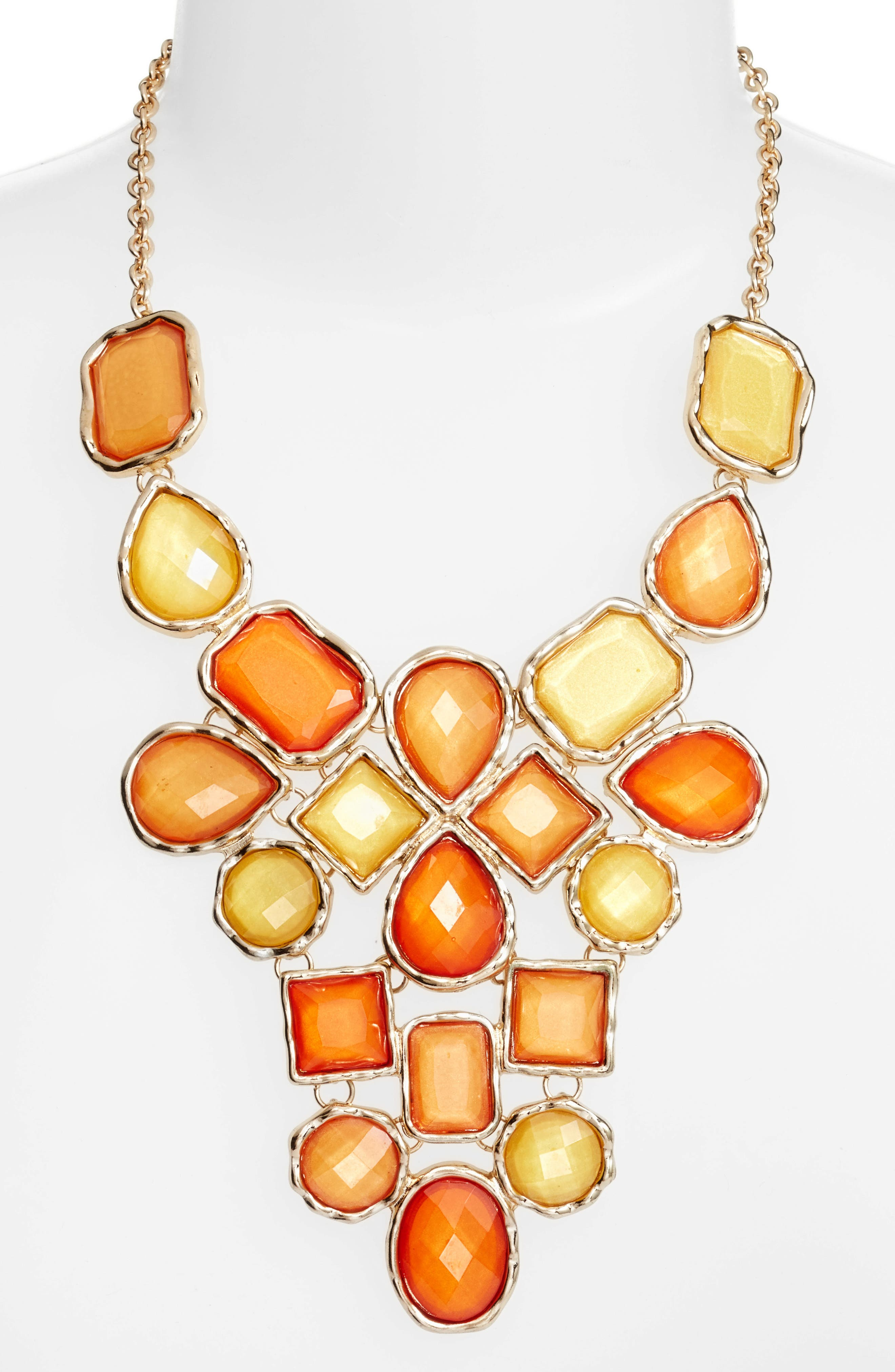 Stone Statement Necklace,                         Main,                         color, Orange