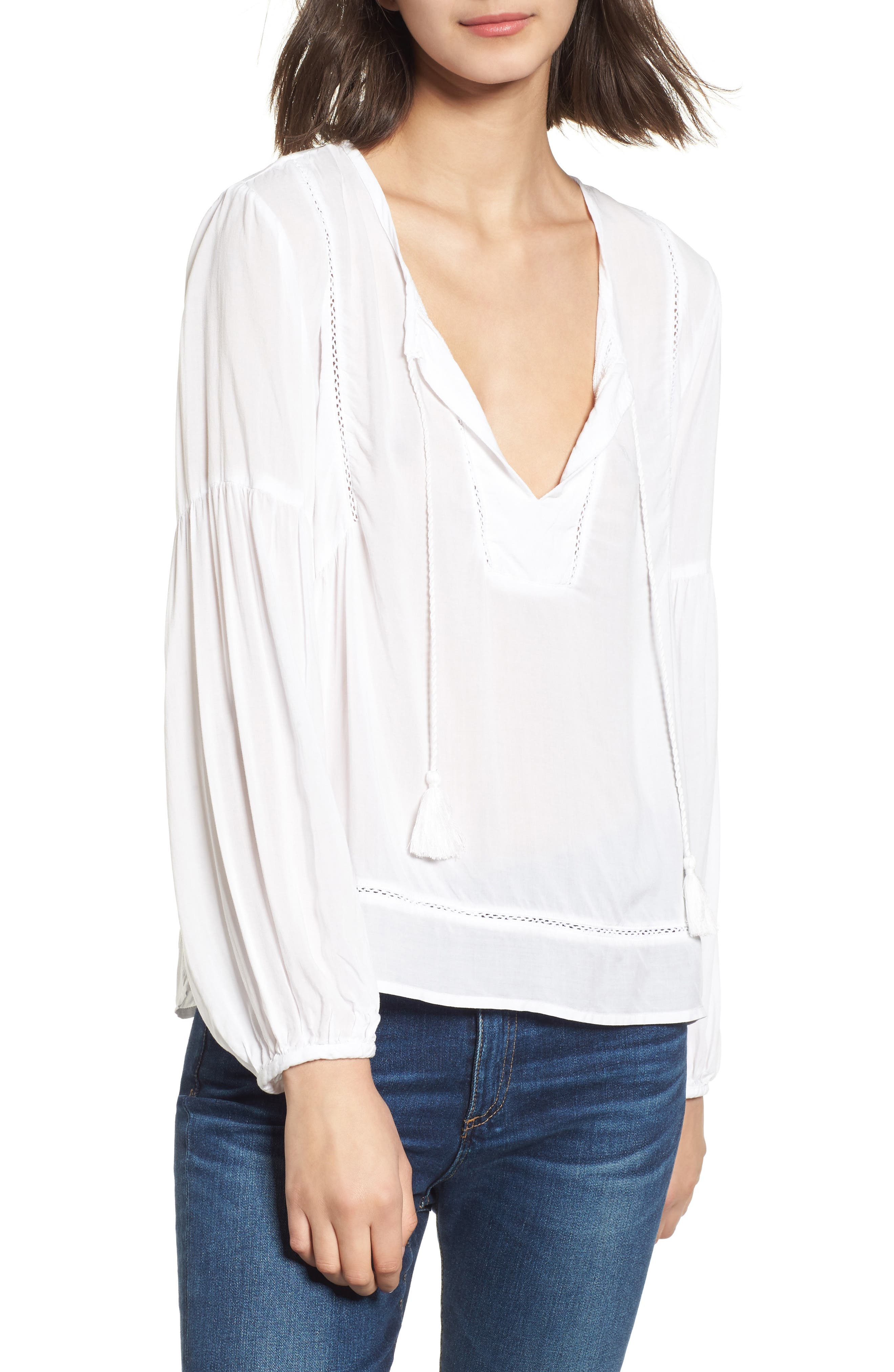Tassel Woven Blouse,                         Main,                         color, White