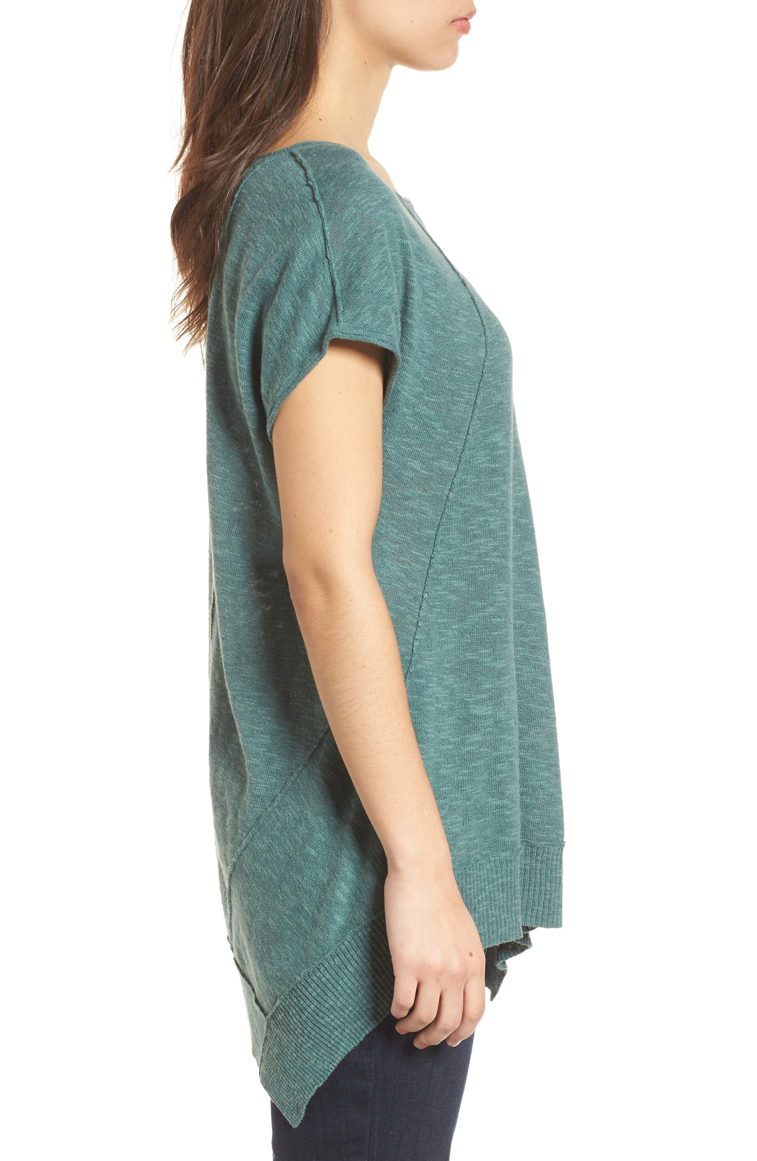 Cap Sleeve Organic Linen & Cotton Scoop Neck Top,                             Alternate thumbnail 3, color,                             Teal