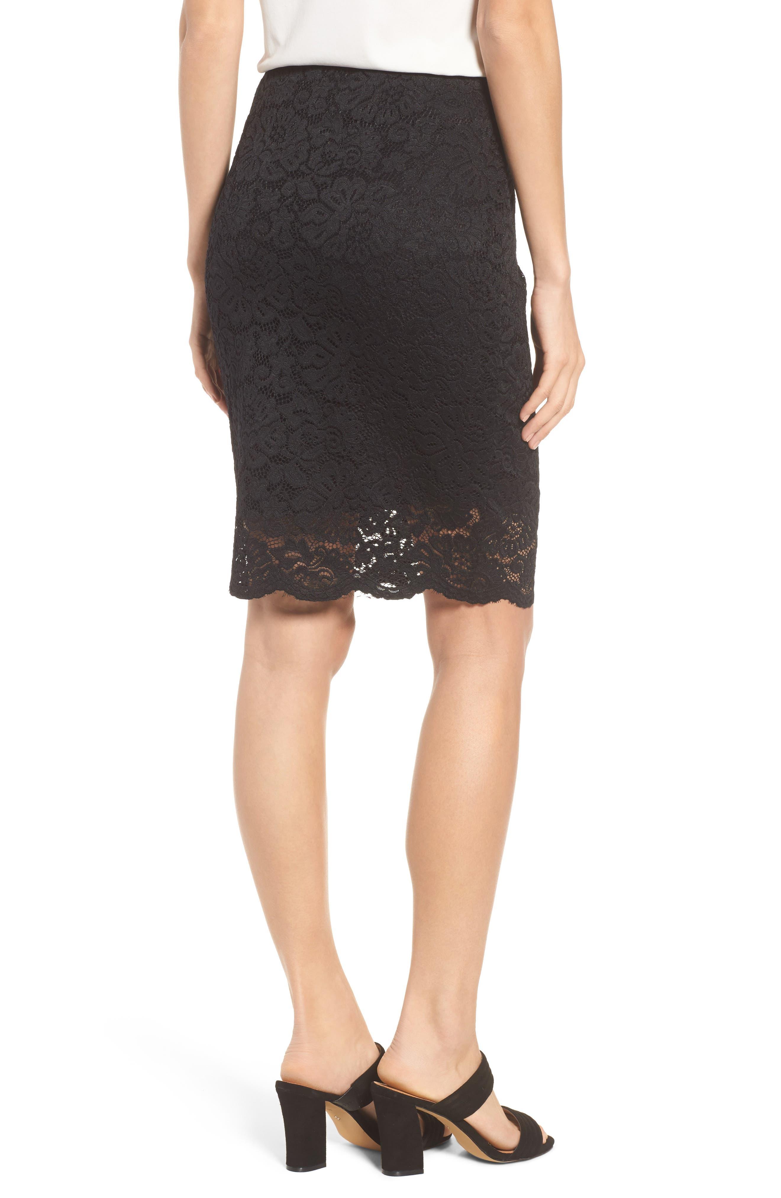 Filippa Scalloped Lace Skirt,                             Alternate thumbnail 2, color,                             Black