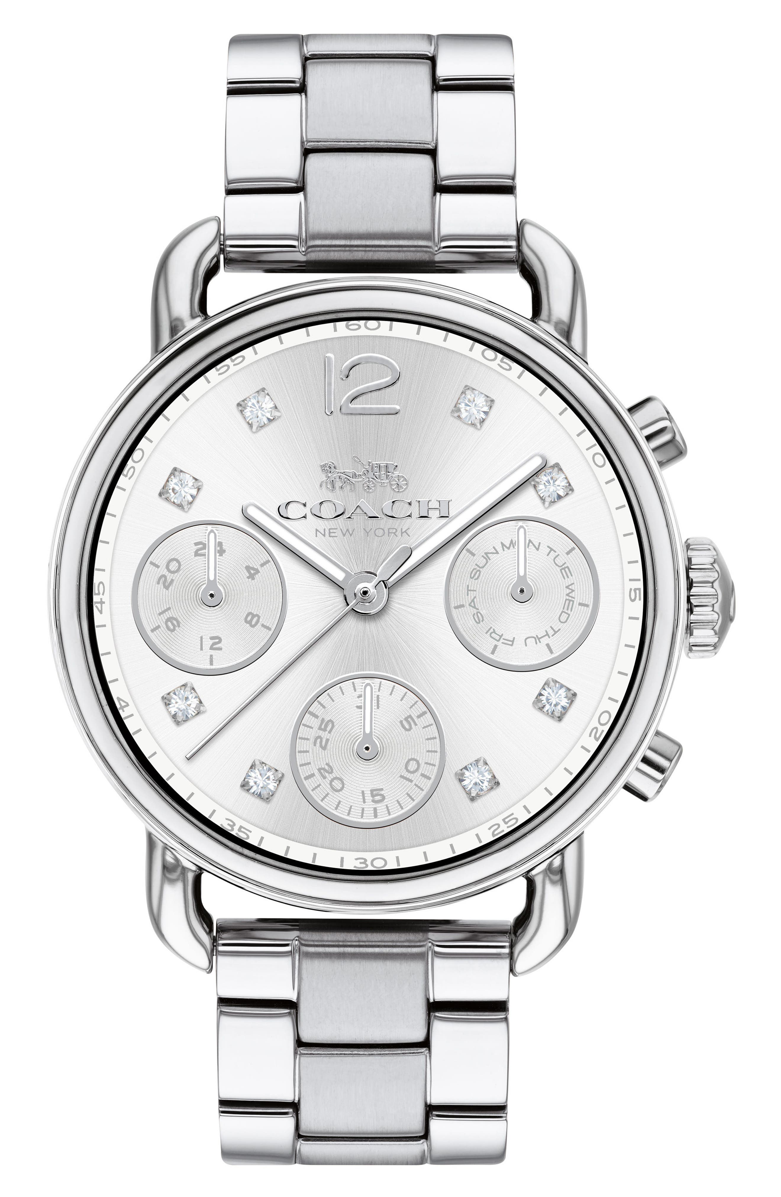 Delancey Chronograph Crystal Accent Bracelet Watch, 36mm,                             Main thumbnail 1, color,                             Silver