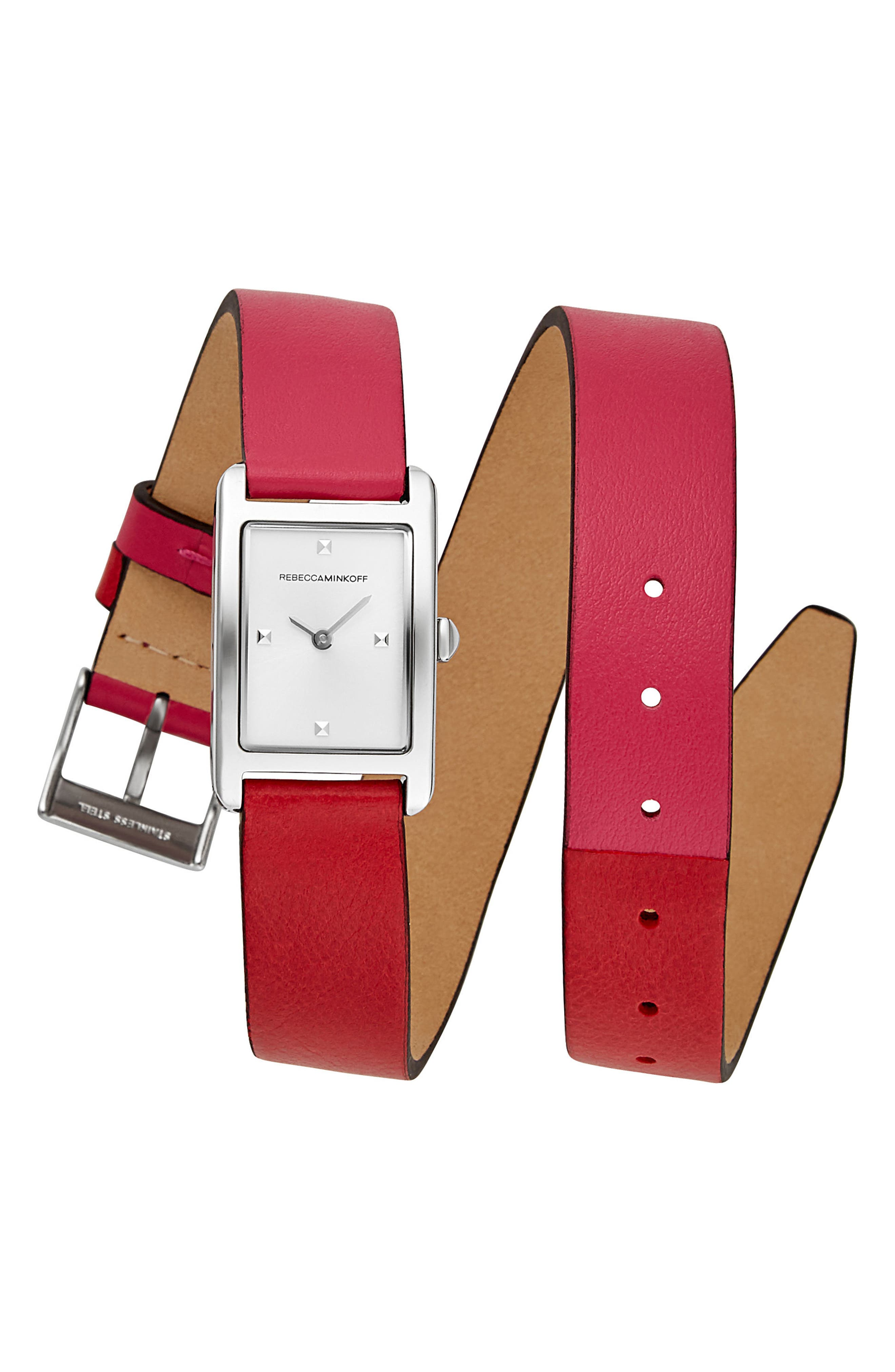Moment Wrap Leather Strap Watch,,                         Main,                         color, Multi Red/ White/ Silver