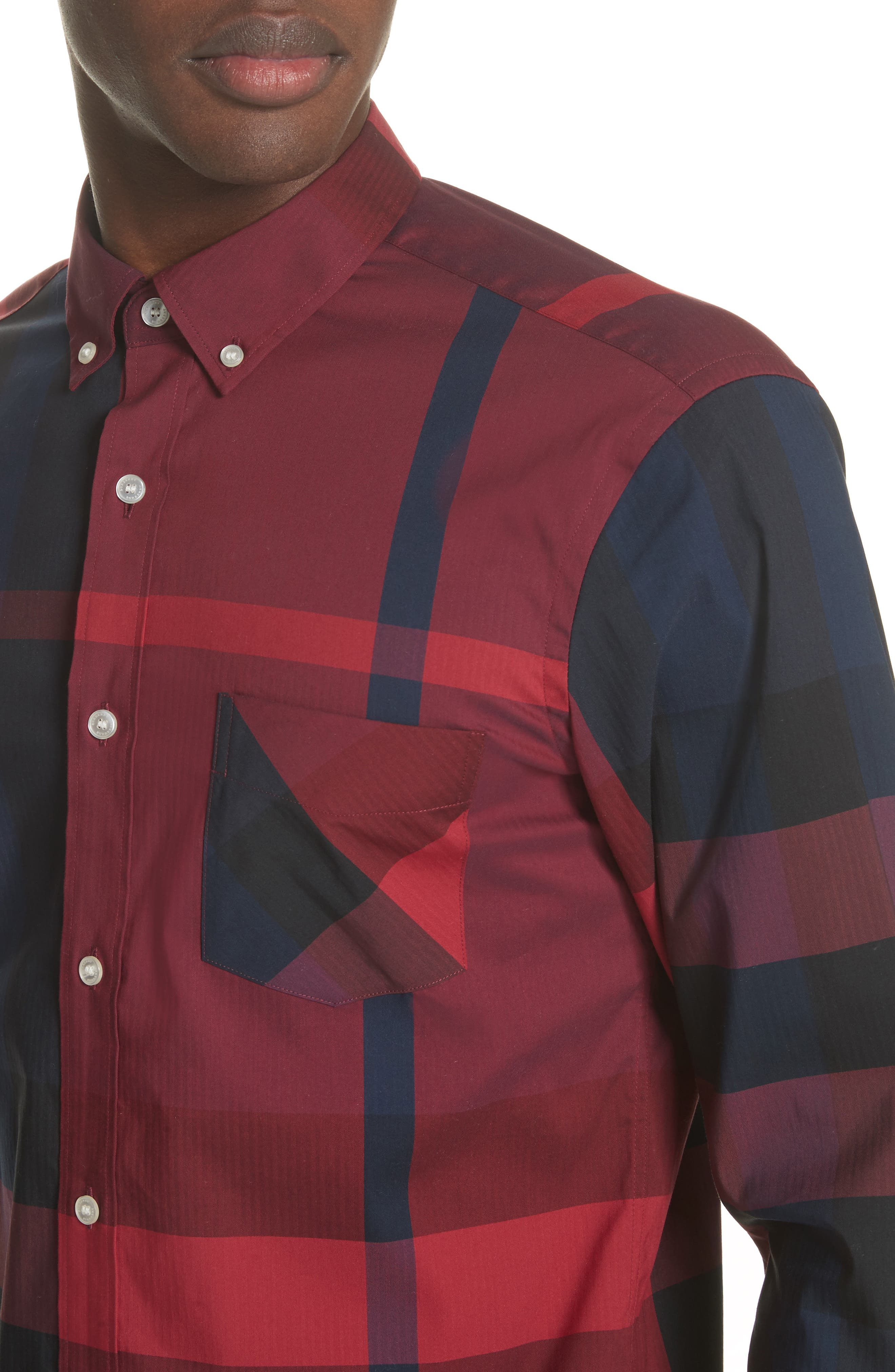 Thornaby Regular Fit Plaid Sport Shirt,                             Alternate thumbnail 2, color,                             Bright Red