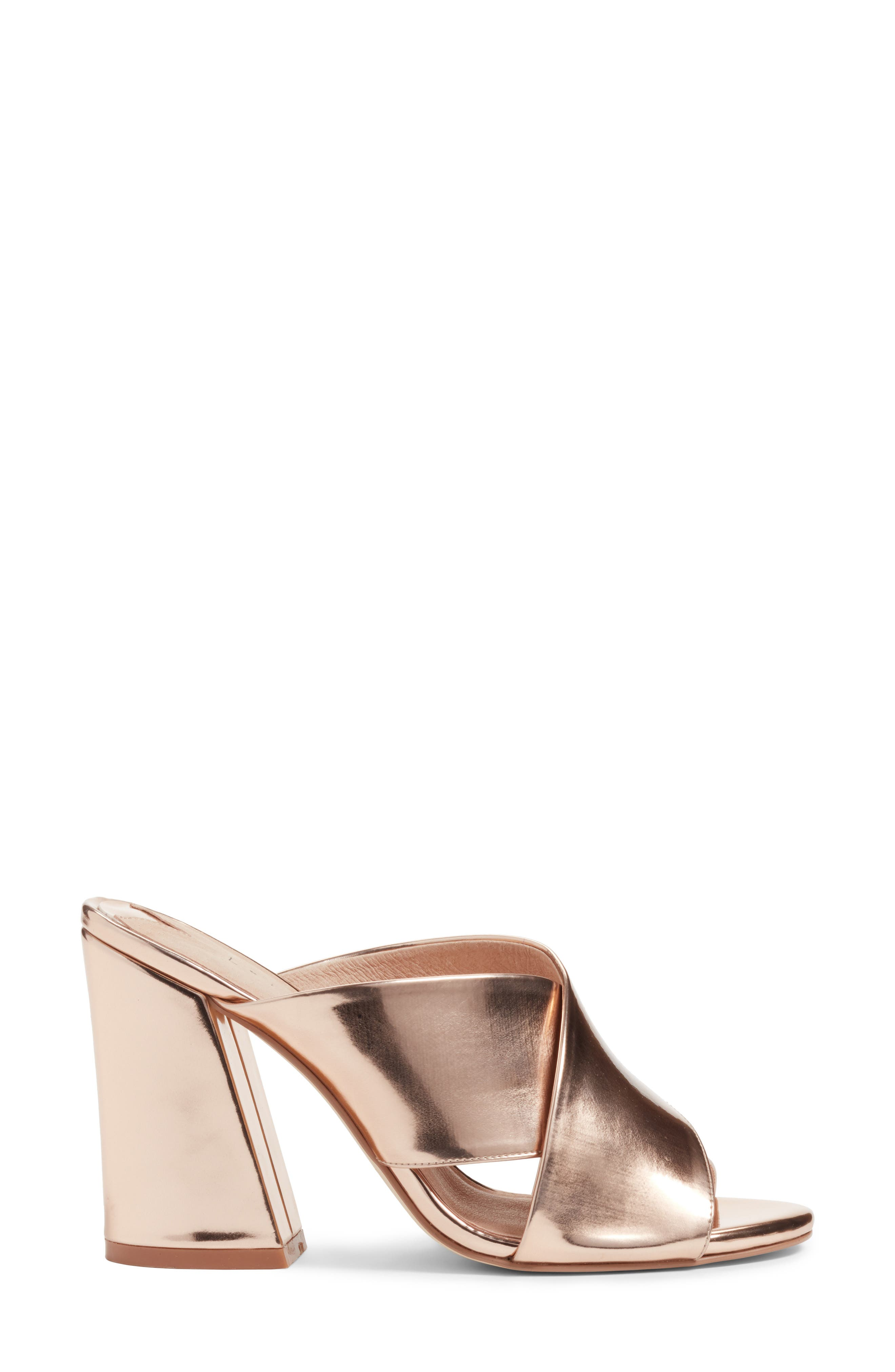 Cammie Block Heel Sandal,                             Alternate thumbnail 3, color,                             Rosegold Metallic Faux Leather
