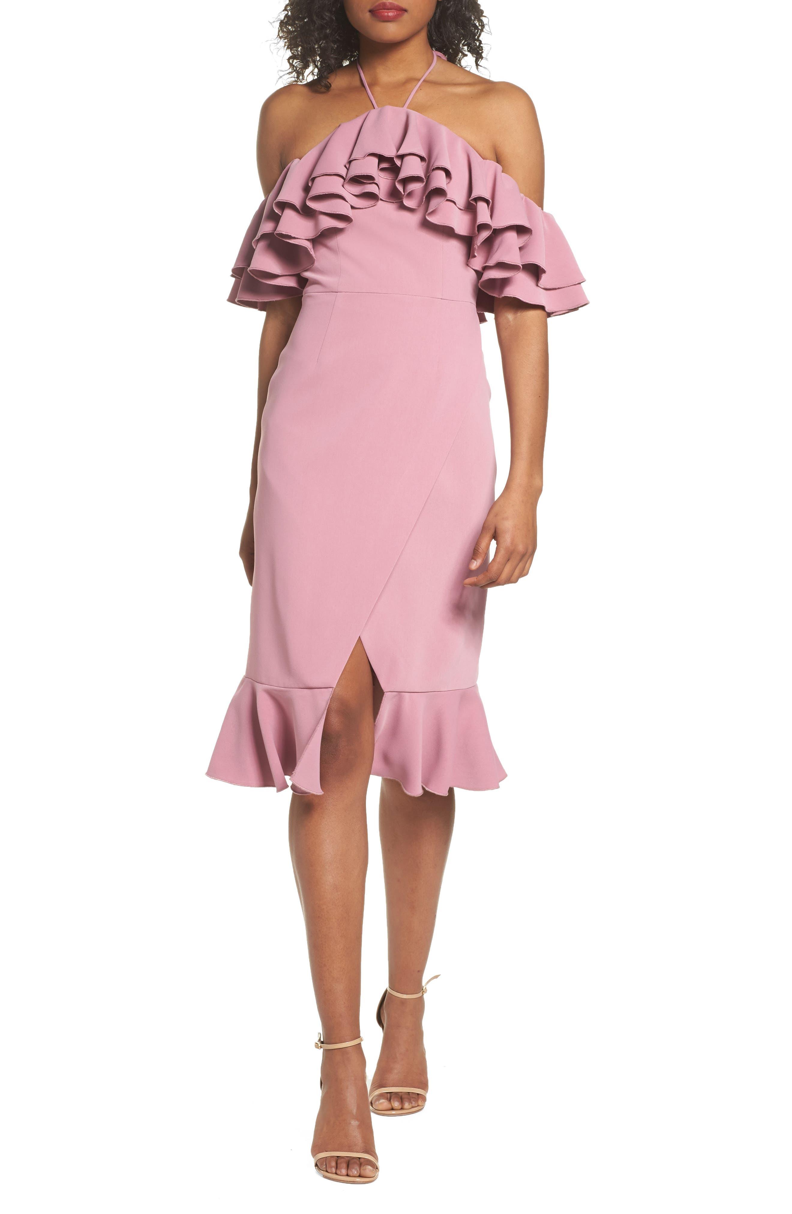 Temptation Ruffle Cold Shoulder Dress,                         Main,                         color, Mulberry