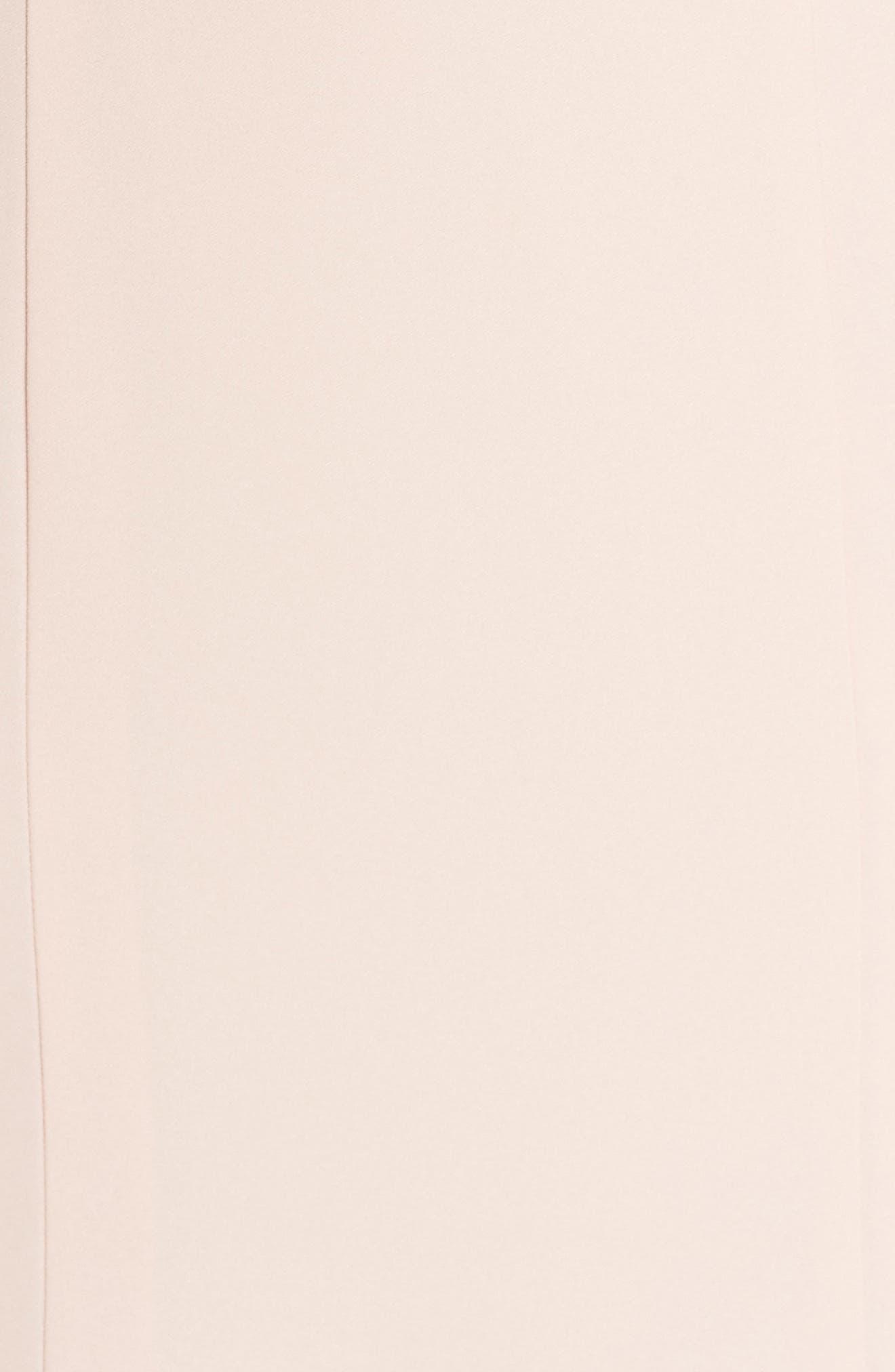Joelle Low Back Crepe Gown,                             Alternate thumbnail 5, color,                             Blush