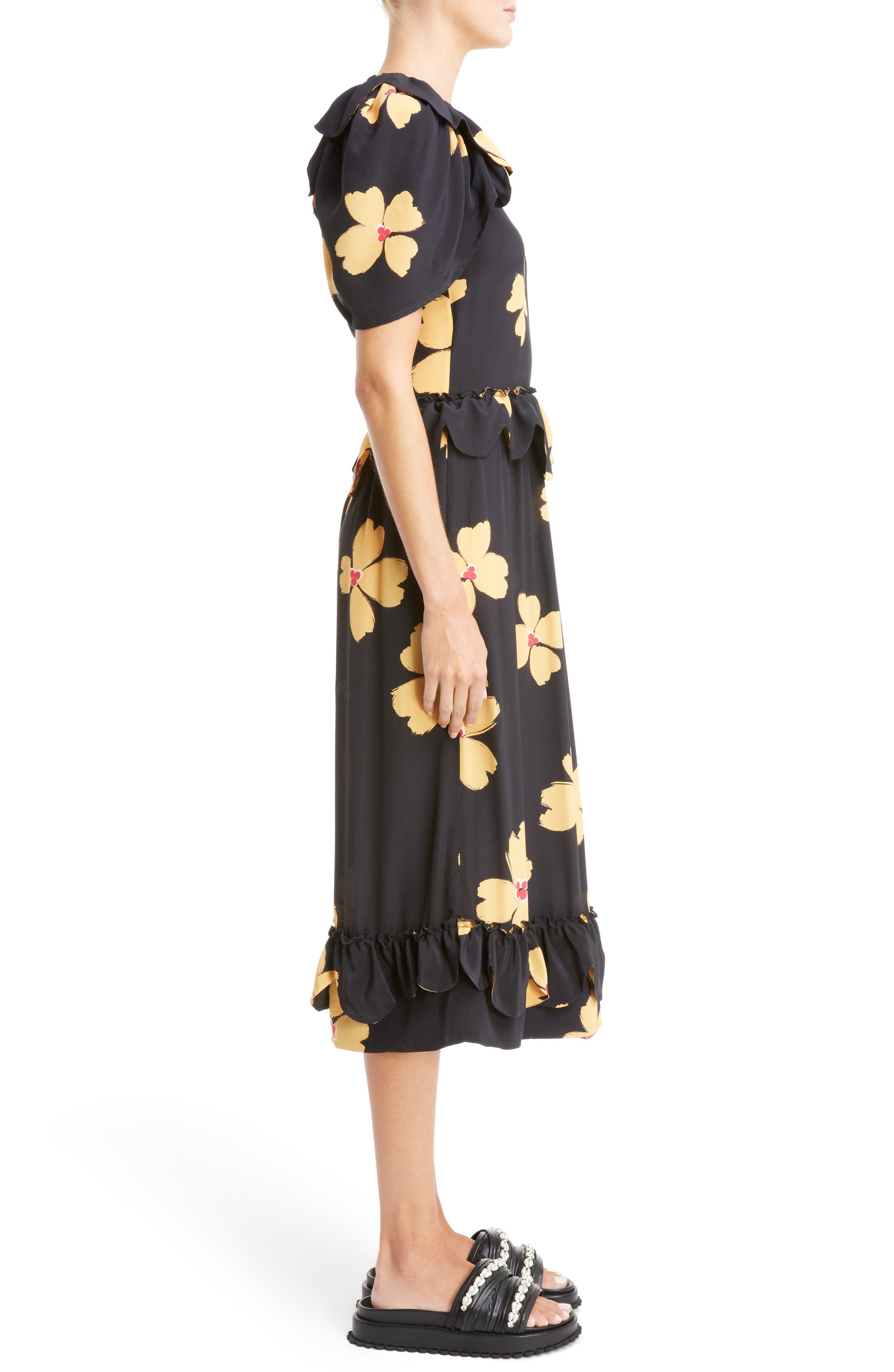 Scallop Trim Floral Silk Dress,                             Alternate thumbnail 3, color,                             Black Clementine