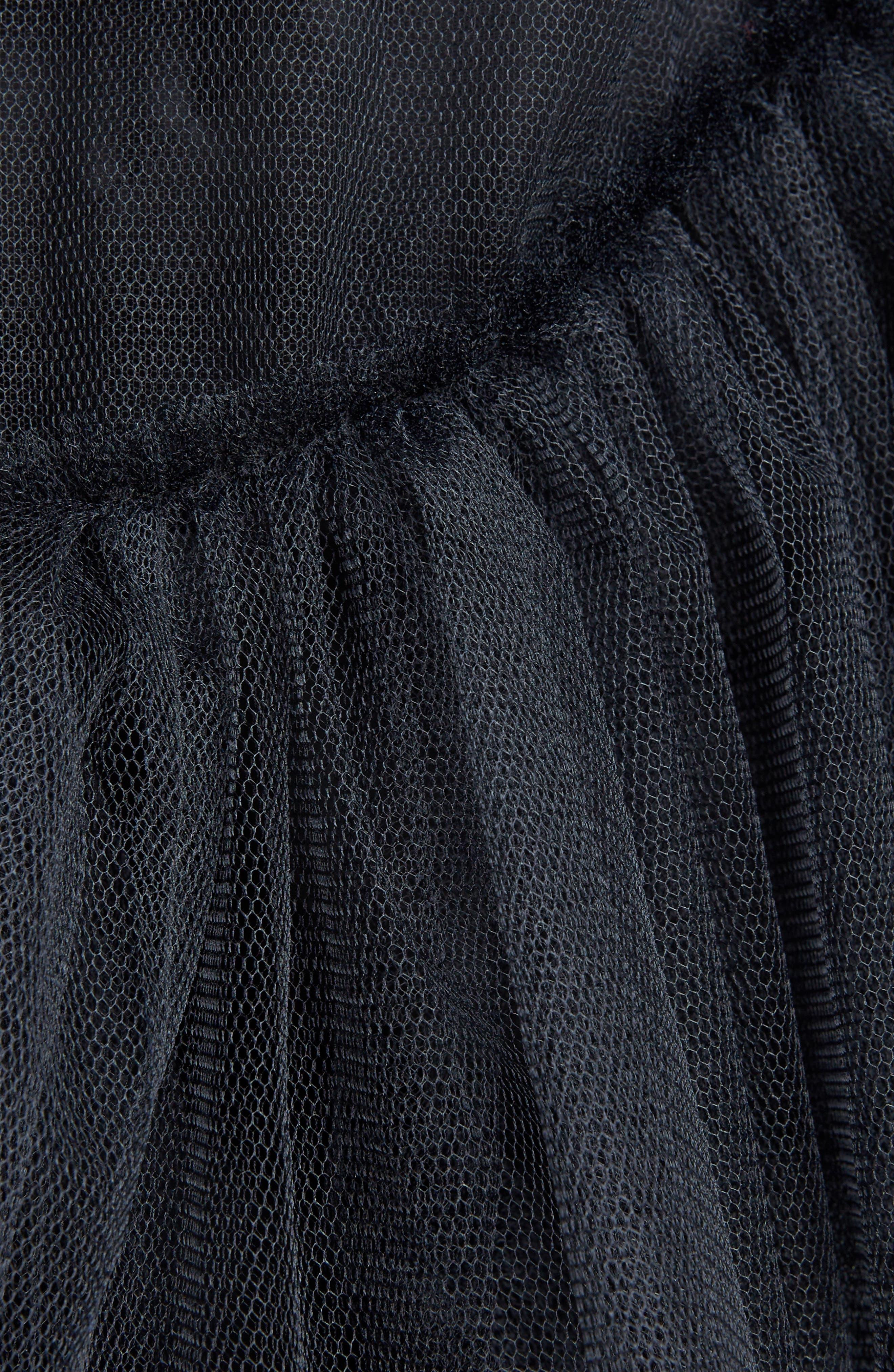 Turbo Tiered Tulle Dress,                             Alternate thumbnail 5, color,                             Black