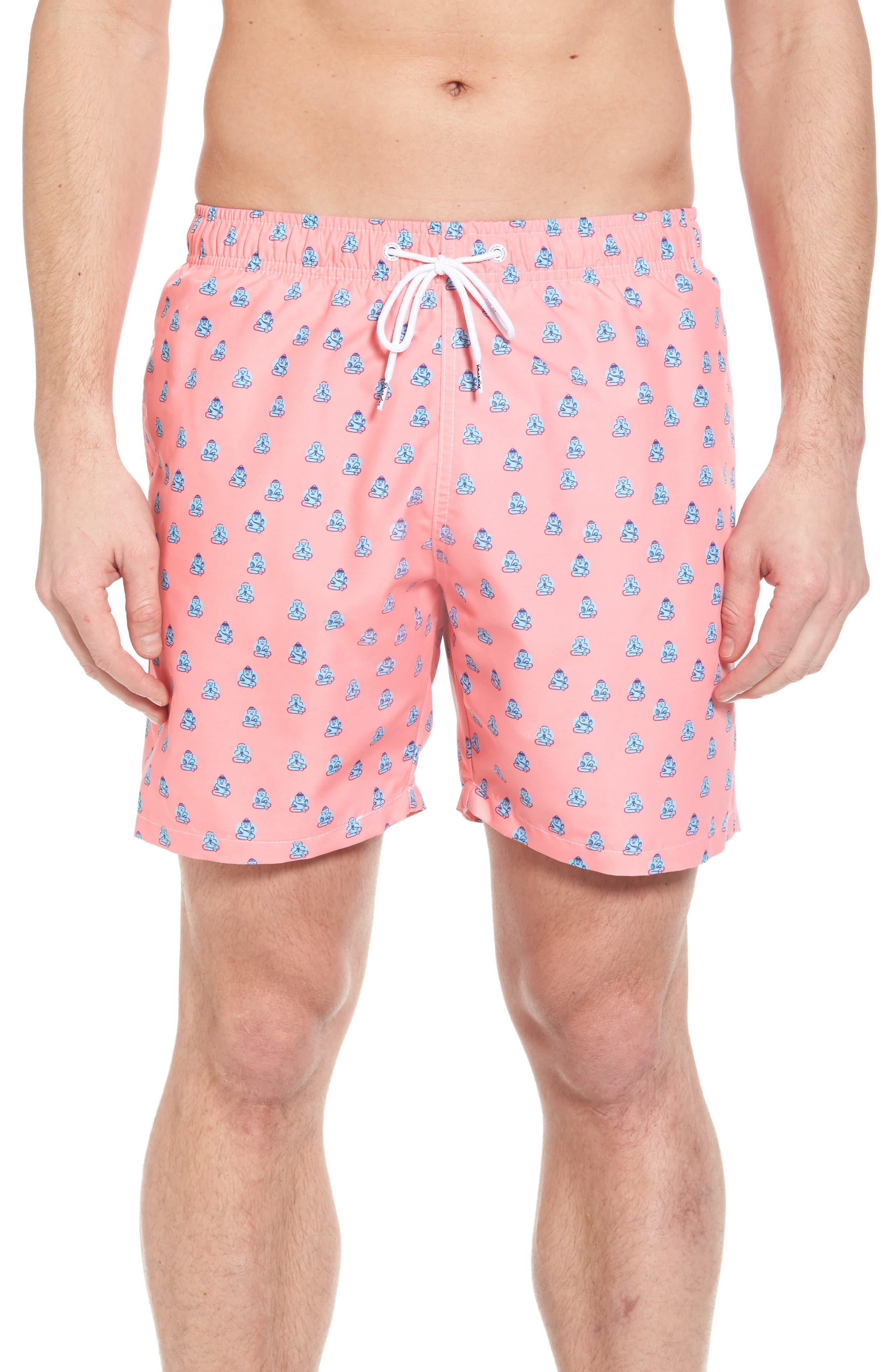 Polka Zen Swim Shorts,                         Main,                         color, Pink